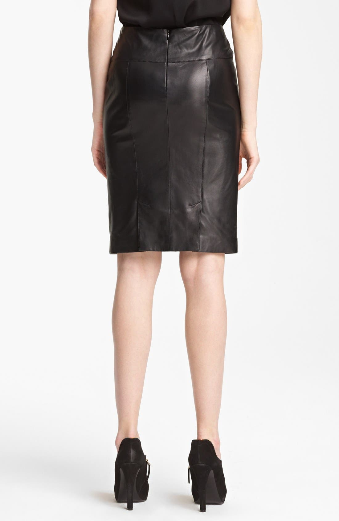 Alternate Image 2  - Armani Collezioni Nappa Leather Pencil Skirt