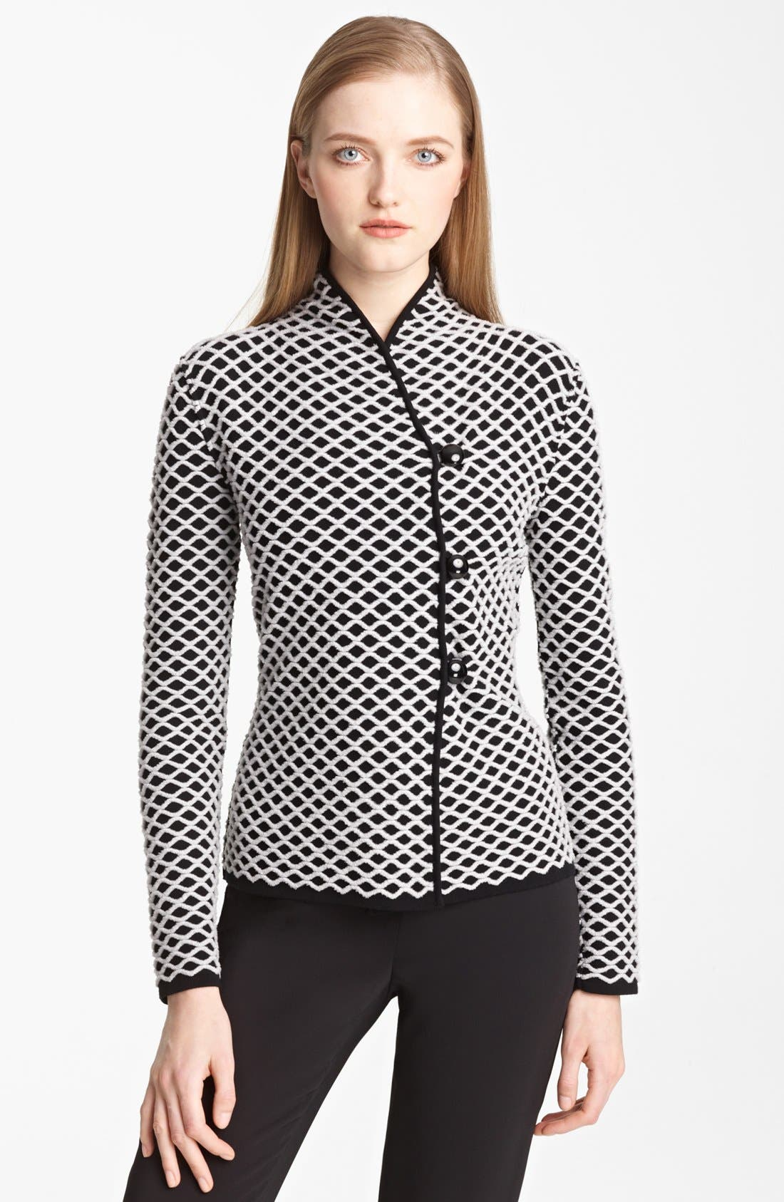 Main Image - Armani Collezioni Basket Weave Sweater Jacket