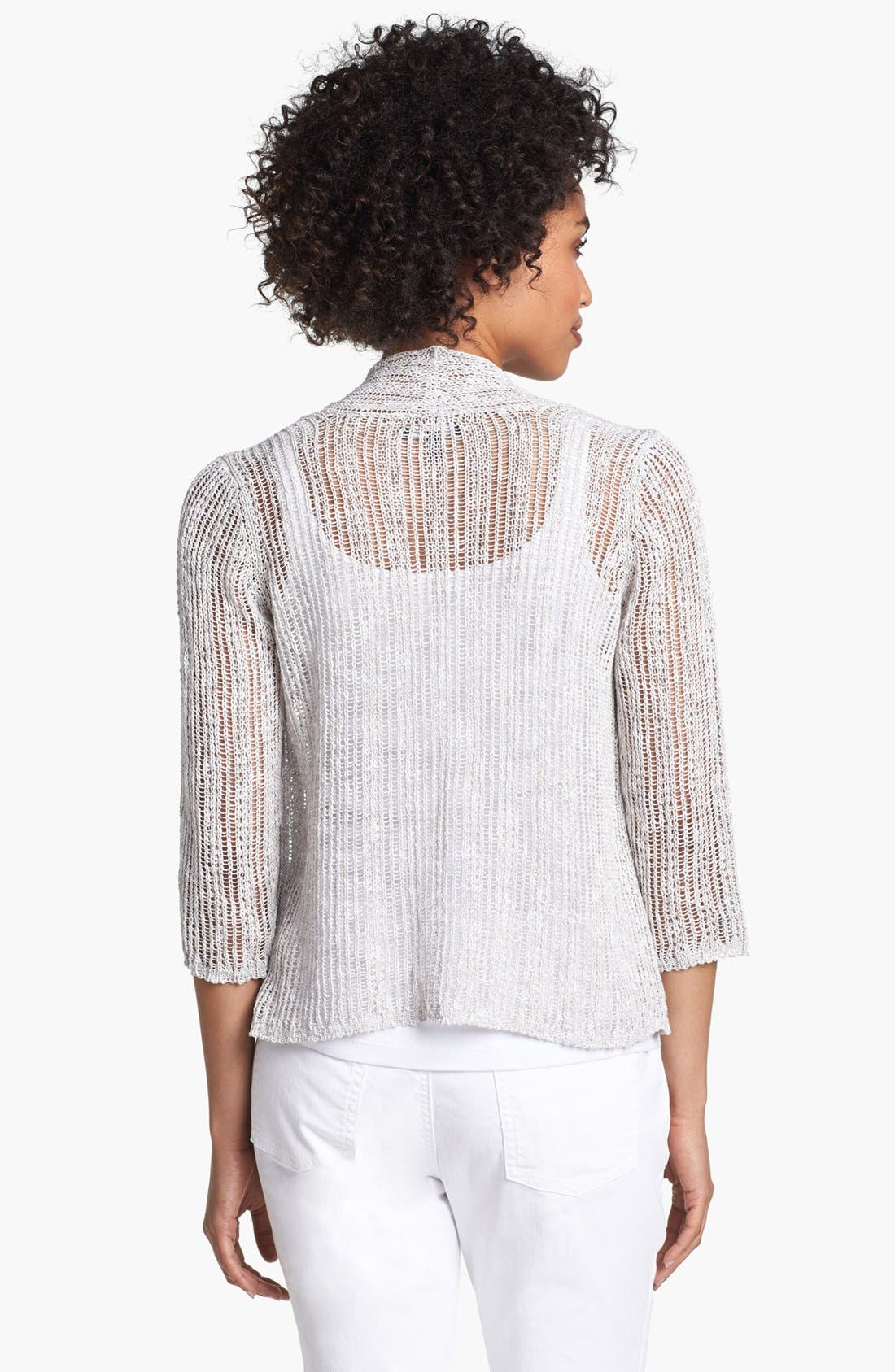 Alternate Image 2  - Eileen Fisher Shimmer Crop Cardigan (Petite)