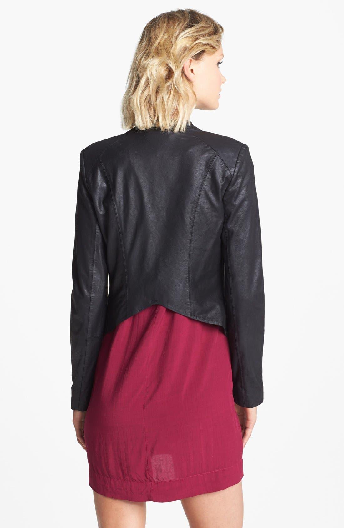 Alternate Image 2  - BB Dakota Drape Front Leather Jacket
