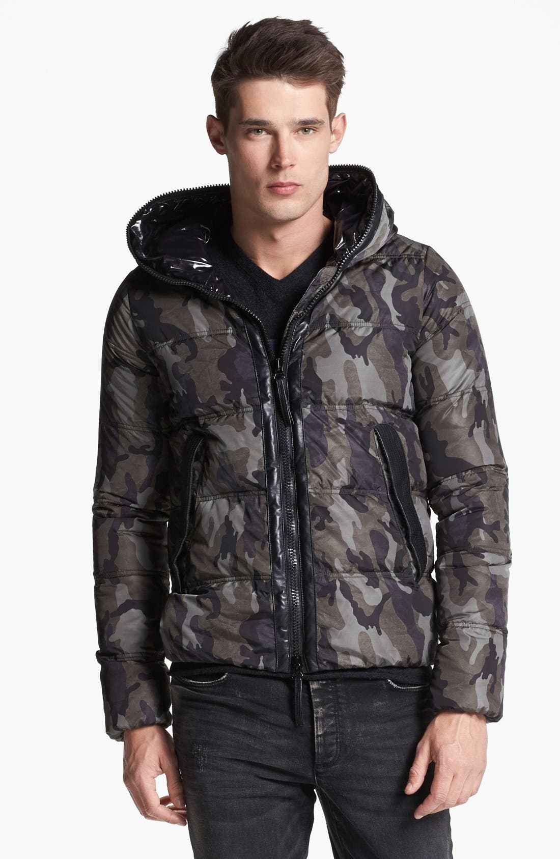 Alternate Image 1 Selected - Duvetica Camo Print Hooded Down Jacket