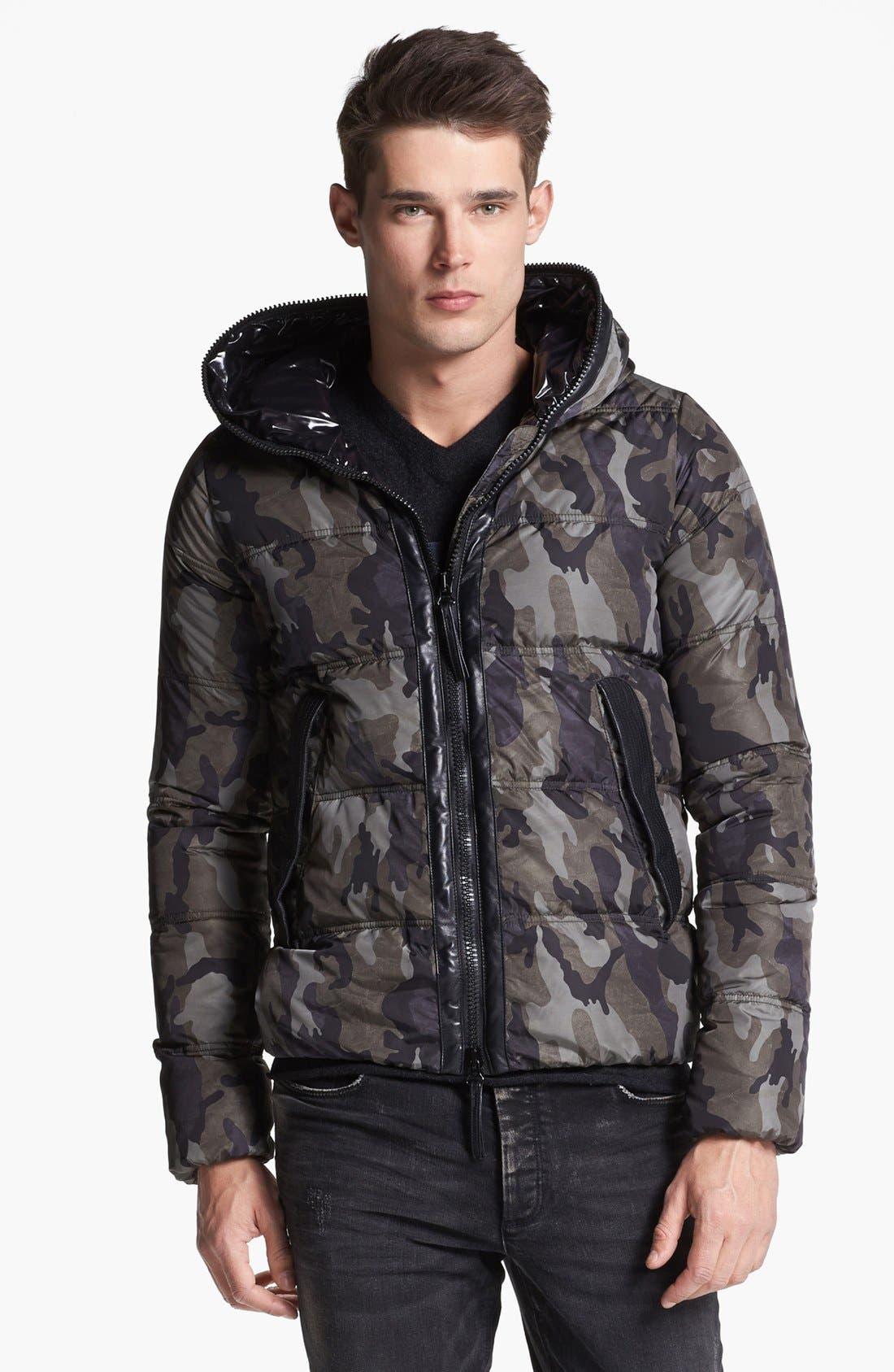 Main Image - Duvetica Camo Print Hooded Down Jacket
