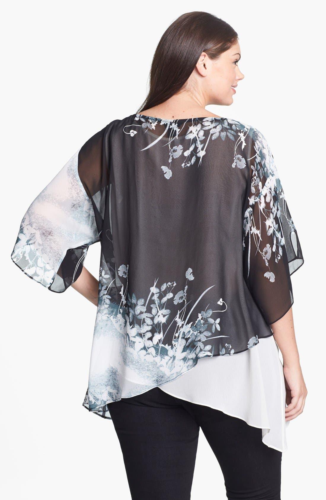 Alternate Image 2  - Citron Print Asymmetrical Silk Tunic (Plus Size)