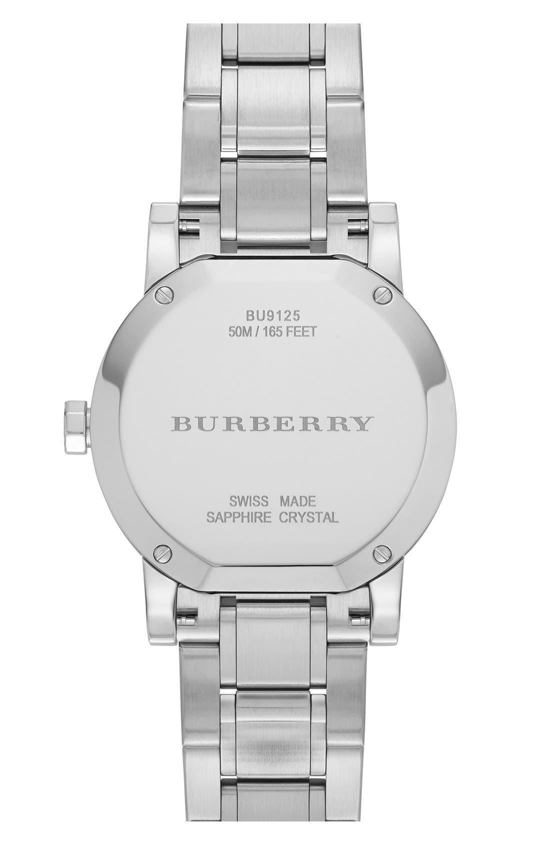 Alternate Image 3  - Burberry Round Diamond Dial Bracelet Watch, 34mm