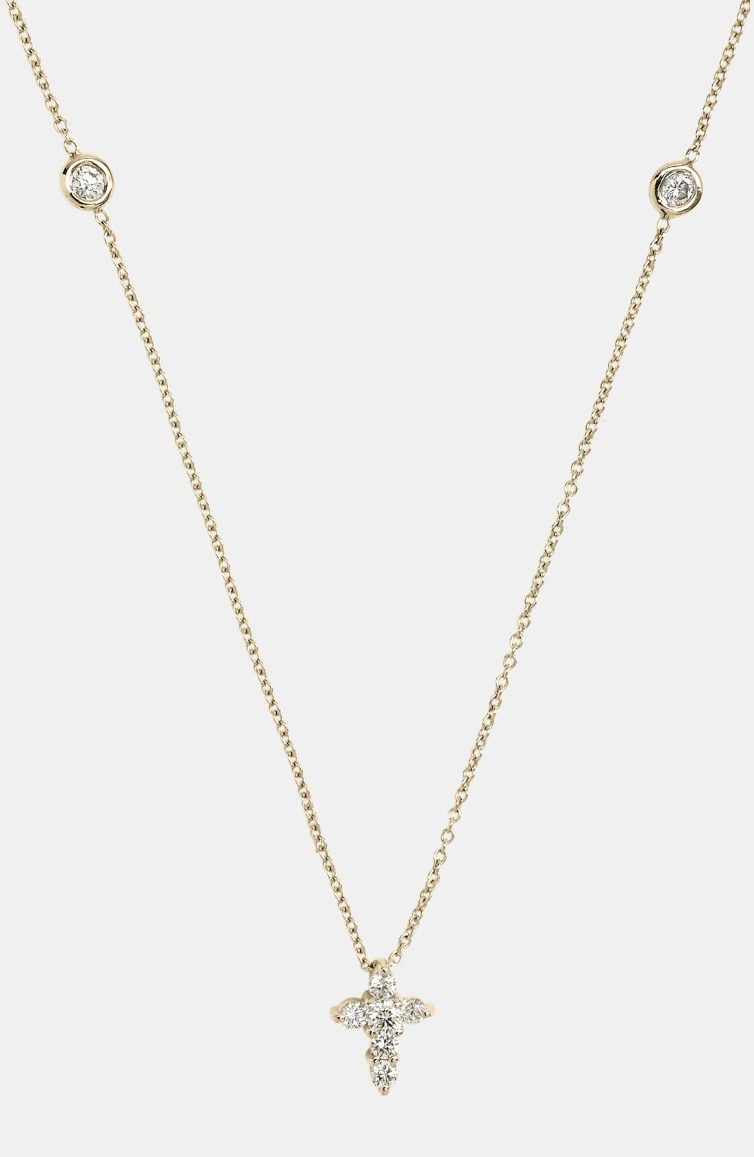 Main Image - Roberto Coin 'Tiny Treasures' Diamond Cross Pendant Necklace (Nordstrom Exclusive)