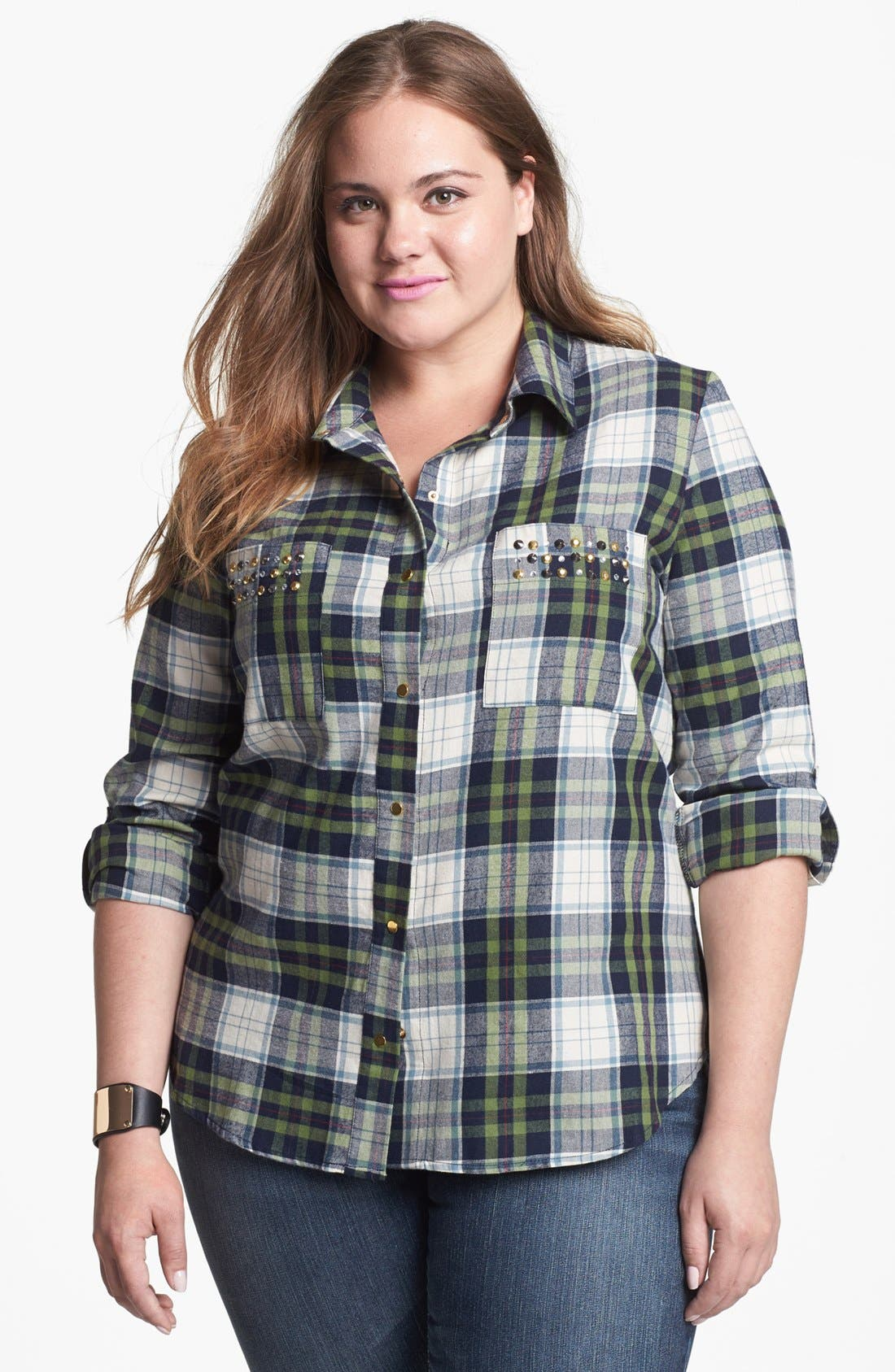 Alternate Image 1 Selected - Pretty Rebel Studded Plaid Shirt (Juniors Plus)