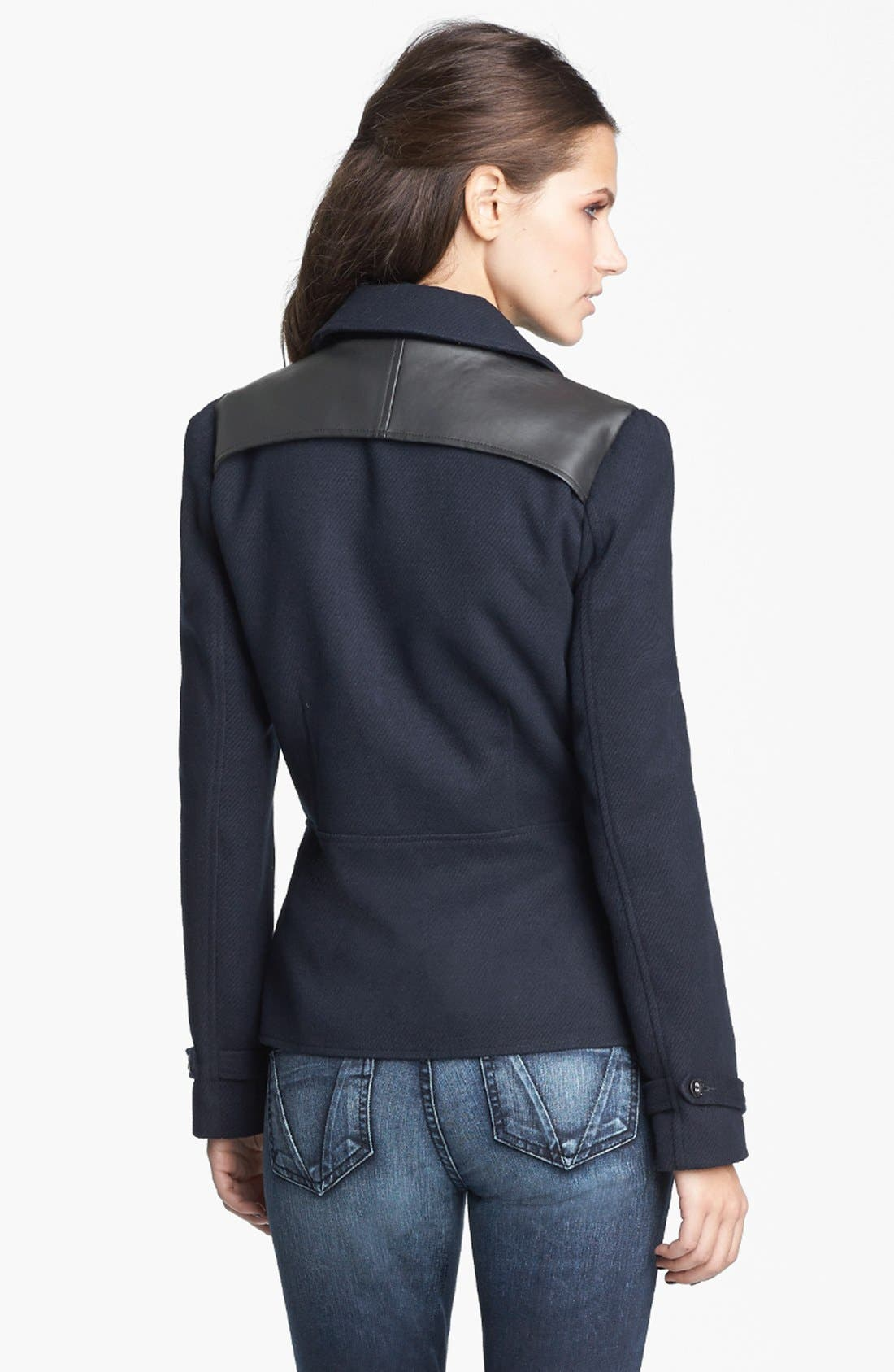 Alternate Image 3  - Tulle Faux Leather Yoke Jacket (Juniors) (Online Only)