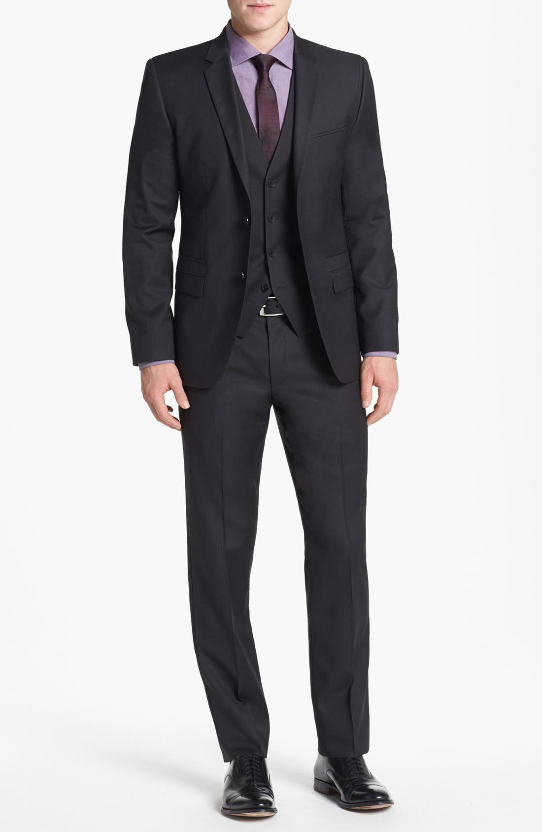 Alternate Image 1 Selected - HUGO 'Arill/Wilm/Heven' Trim Fit Three-Piece Suit