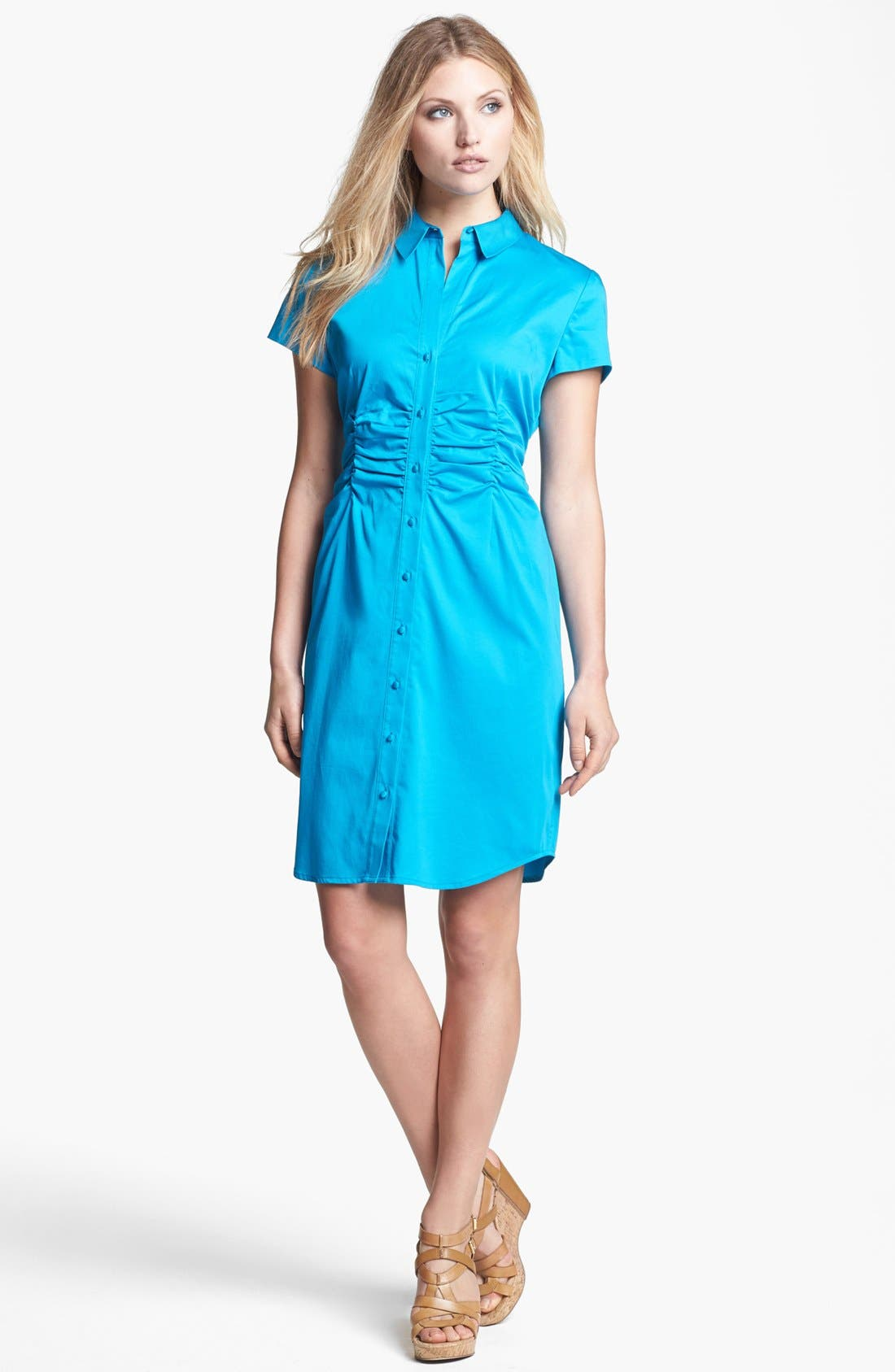 Main Image - Chaus Ruched Sateen Shirtdress