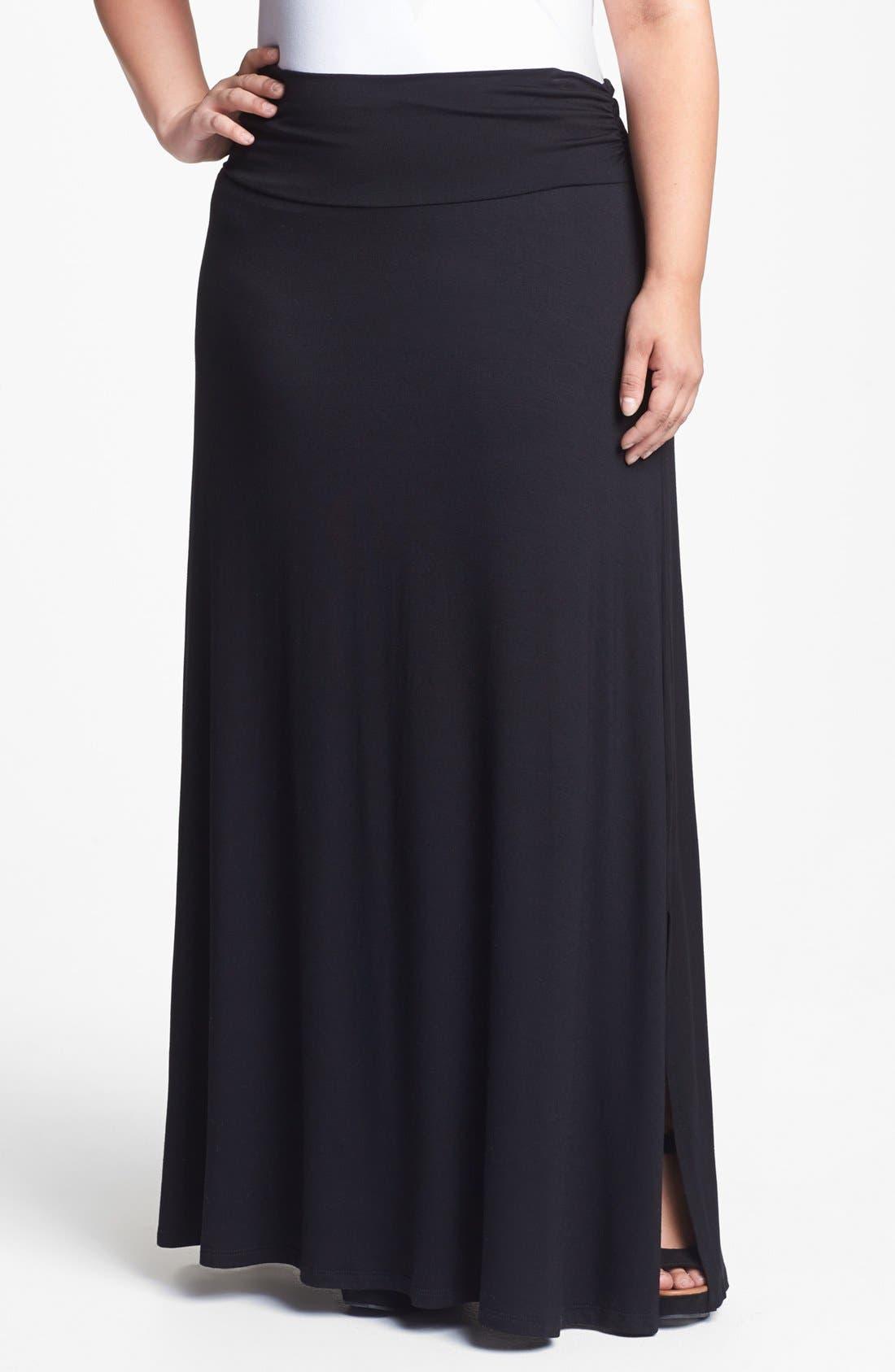 Main Image - Bobeau Knit Maxi Skirt (Plus Size)
