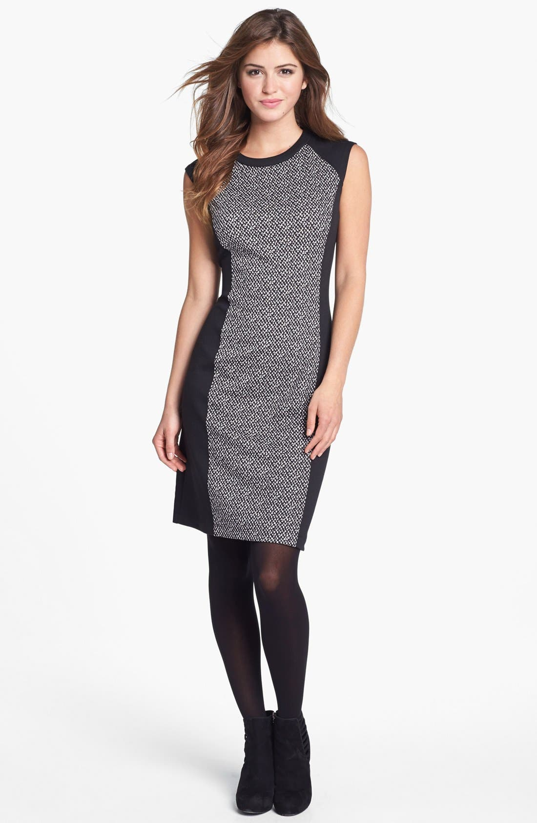Alternate Image 4  - Calvin Klein Colorblock Print Ponte Knit Dress (Online Only)