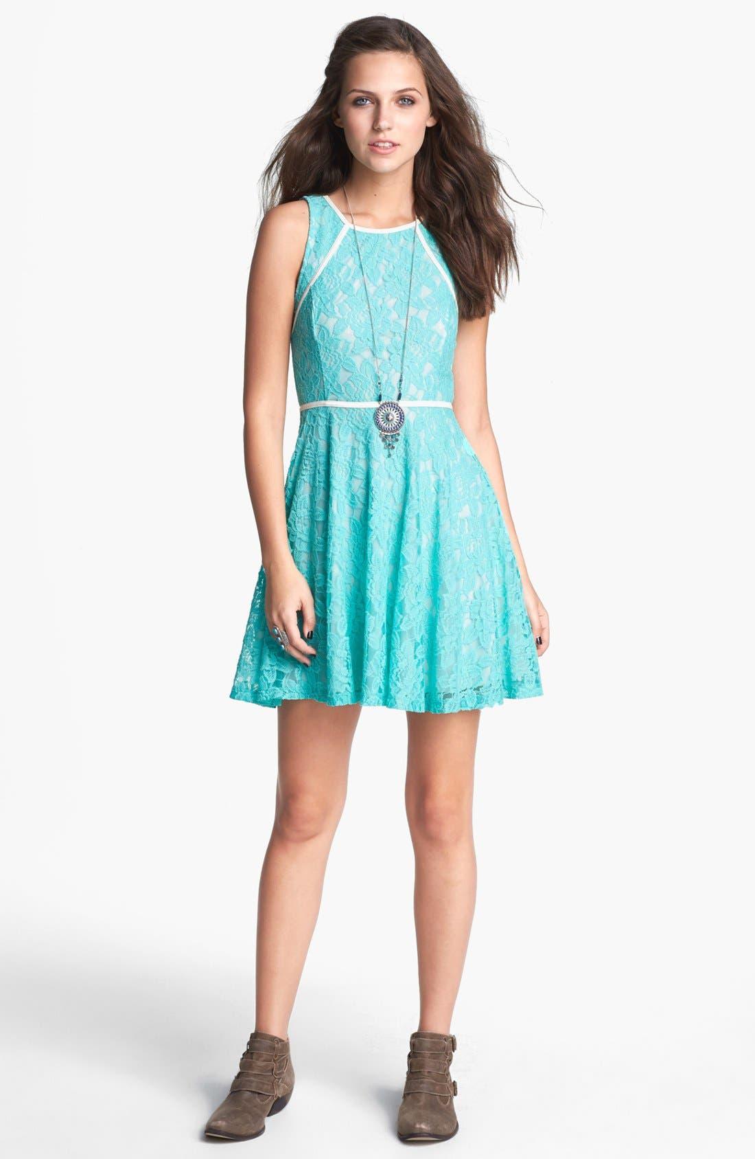 Alternate Image 1 Selected - Lush Faux Leather Trim Lace Skater Dress (Juniors)