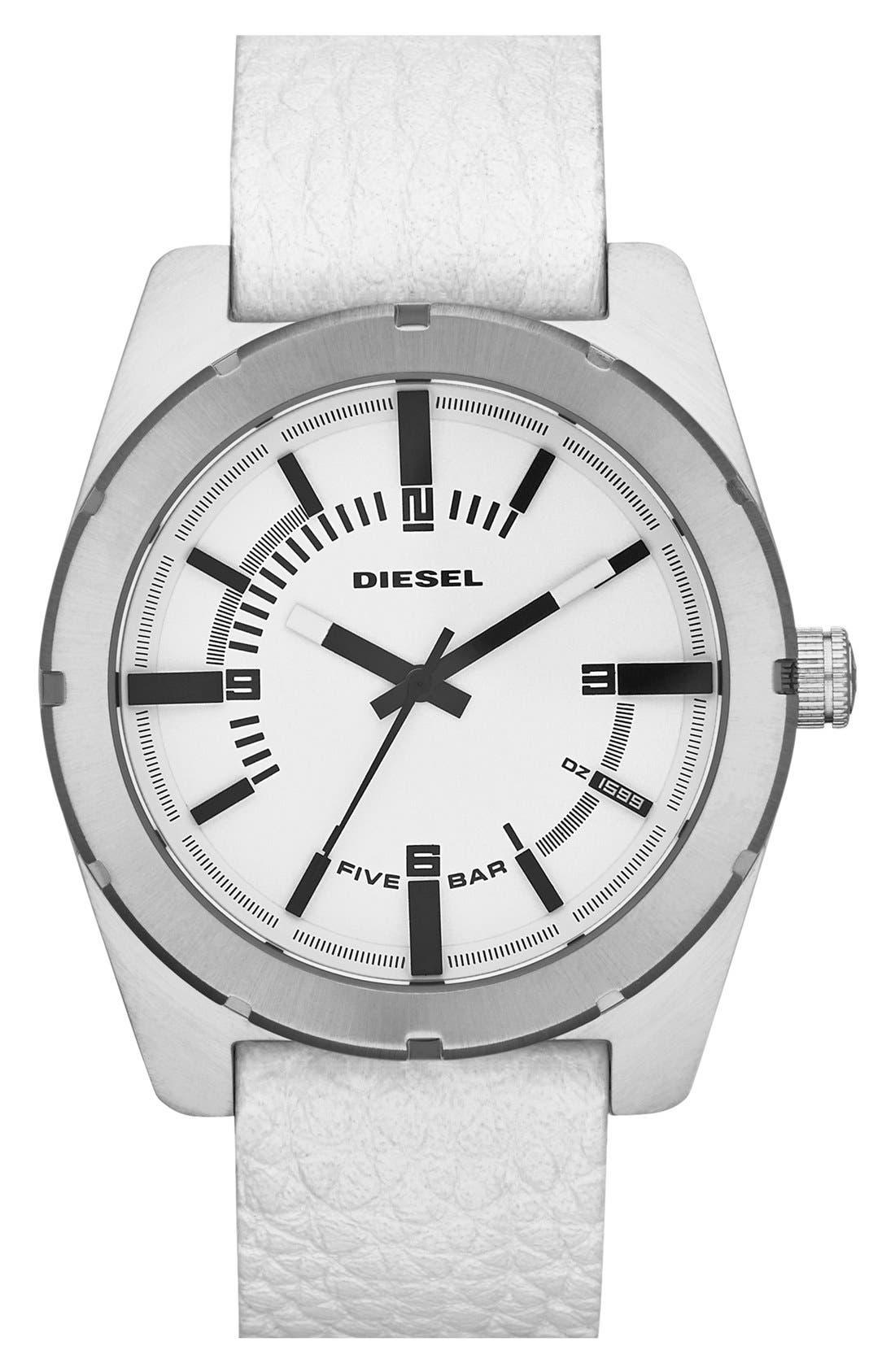 Main Image - DIESEL® 'NSBB' Leather Strap Watch, 44mm