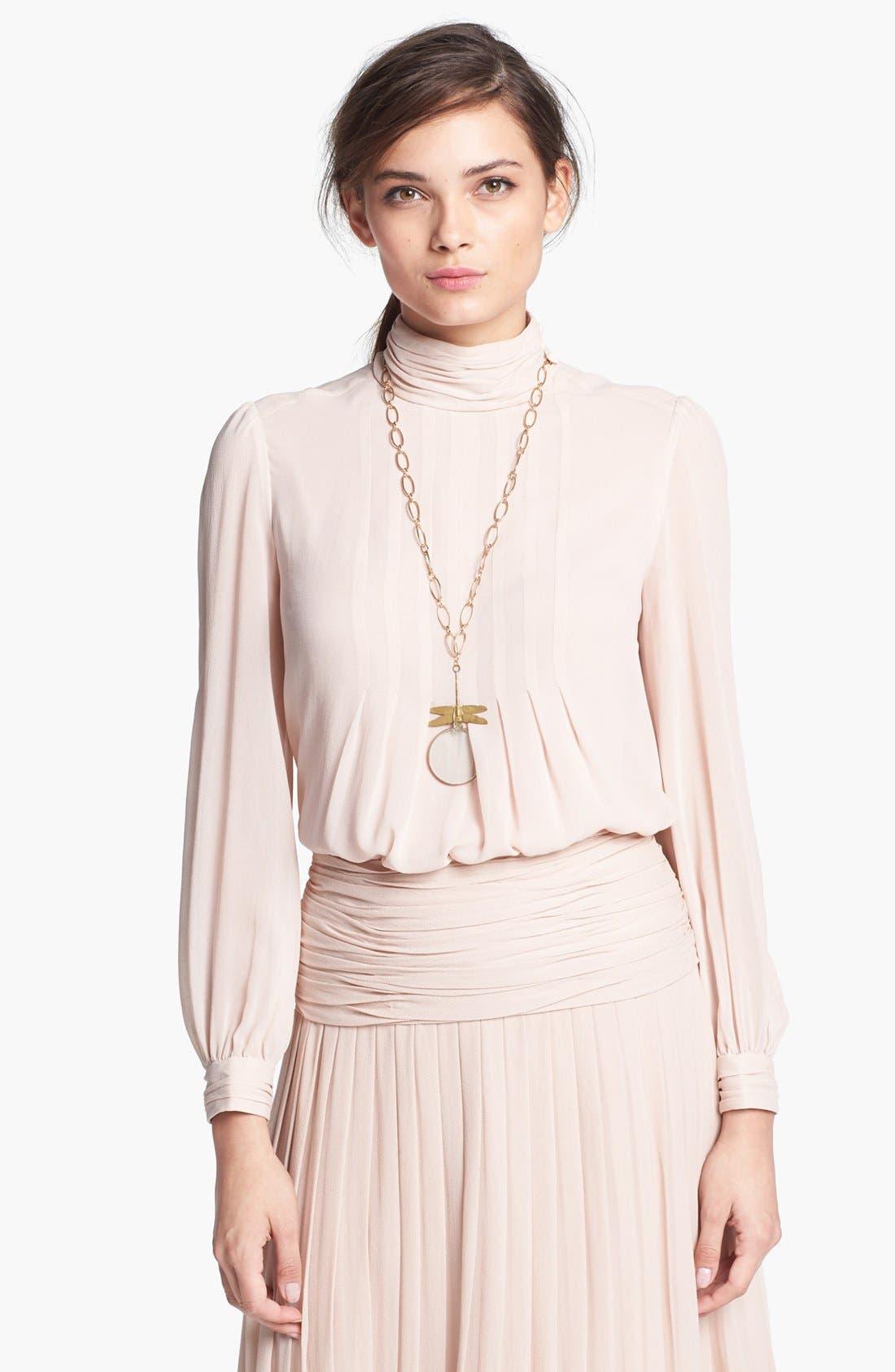 Main Image - Tory Burch 'Jasmine' Pleated Silk Blouse