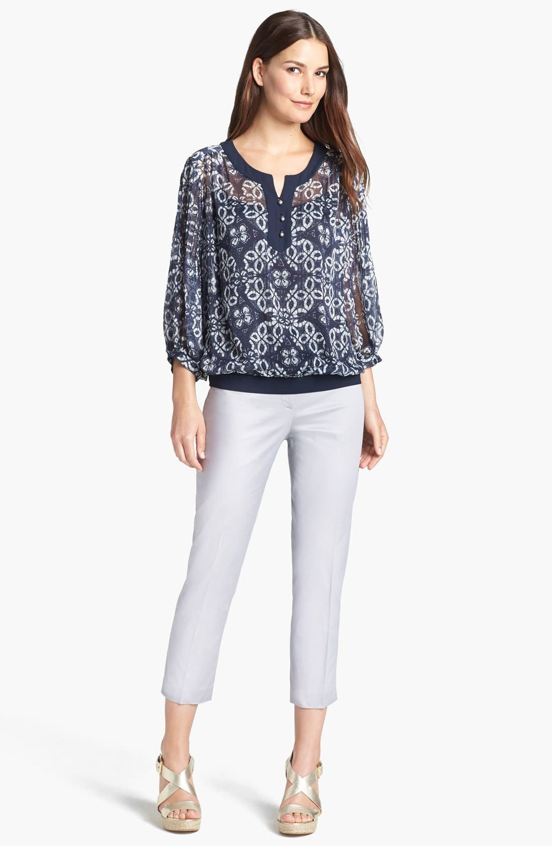 Alternate Image 2  - Adrianna Papell Crinkled Chiffon Blouse with Camisole