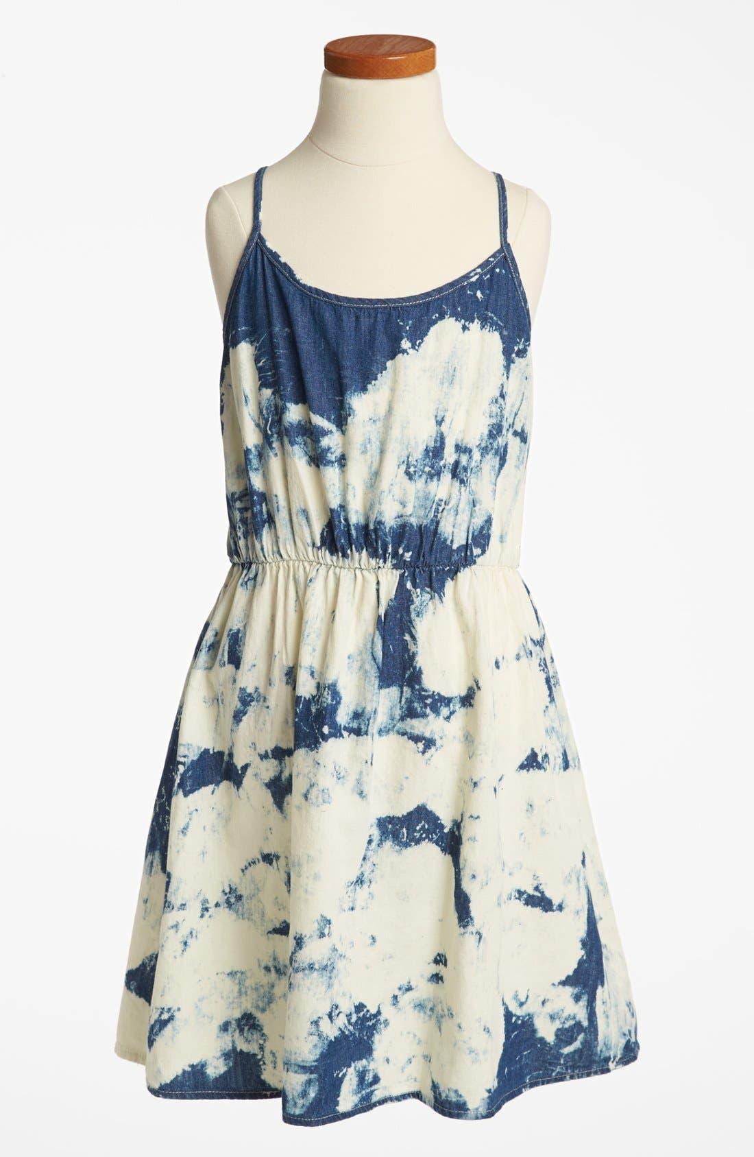 Alternate Image 1 Selected - Mia Chica Acid Wash Chambray Dress (Big Girls)