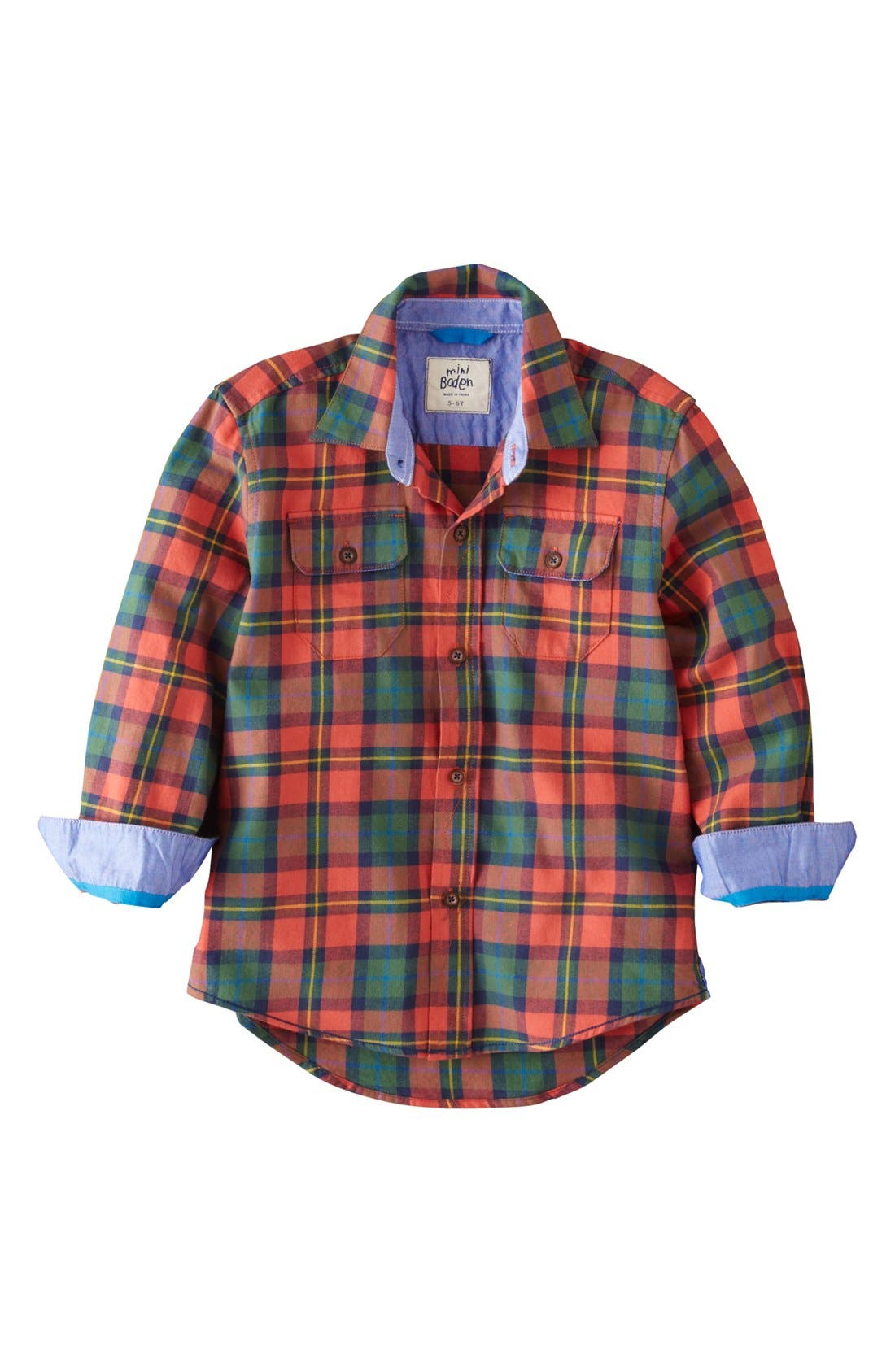 Alternate Image 1 Selected - Mini Boden Brushed Check Shirt (Toddler, Little Boys & Big Boys)