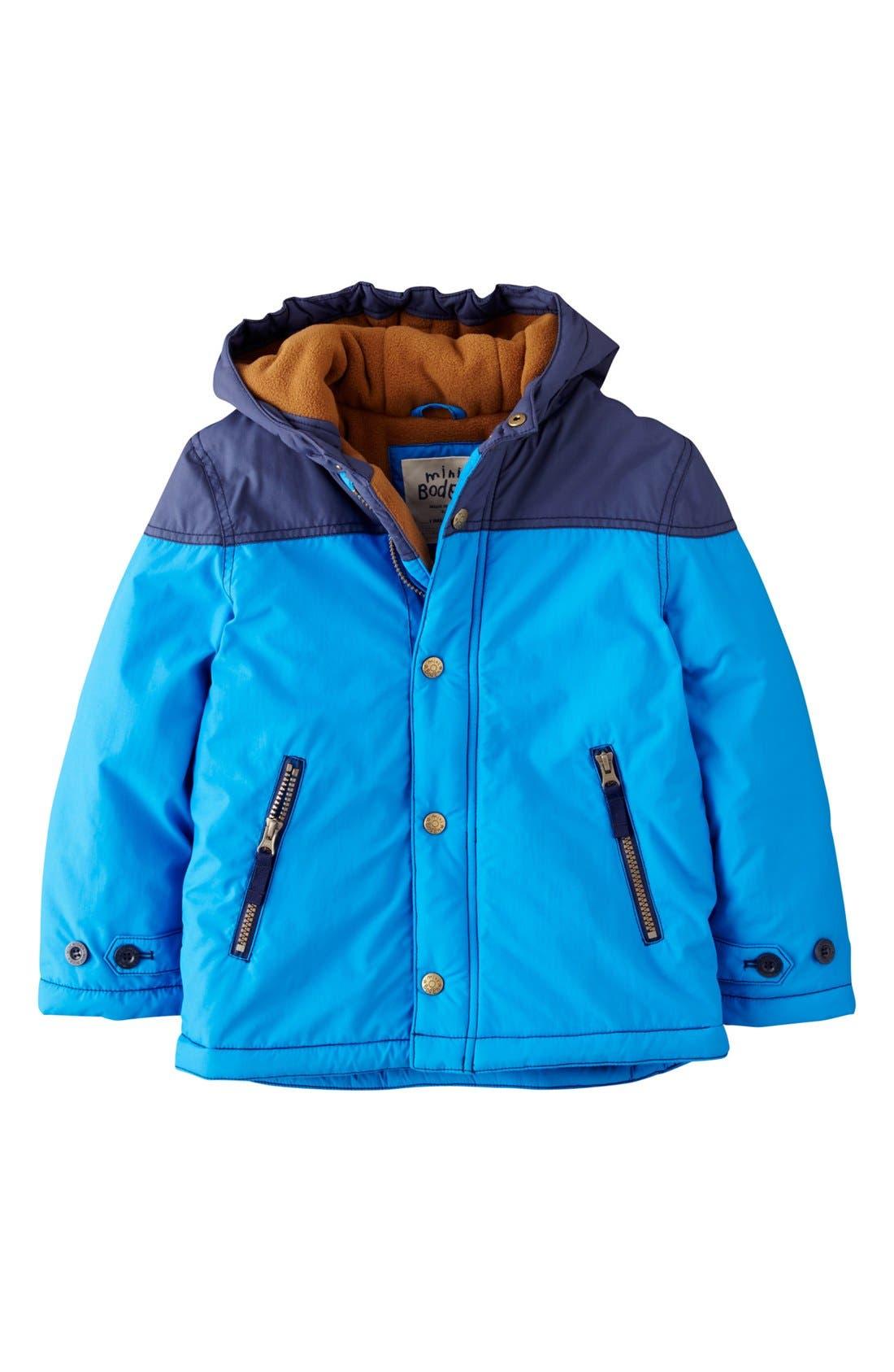 Alternate Image 1 Selected - Mini Boden Fleece Lined Hooded Anorak (Toddler Boys, Little Boys & Big Boys)
