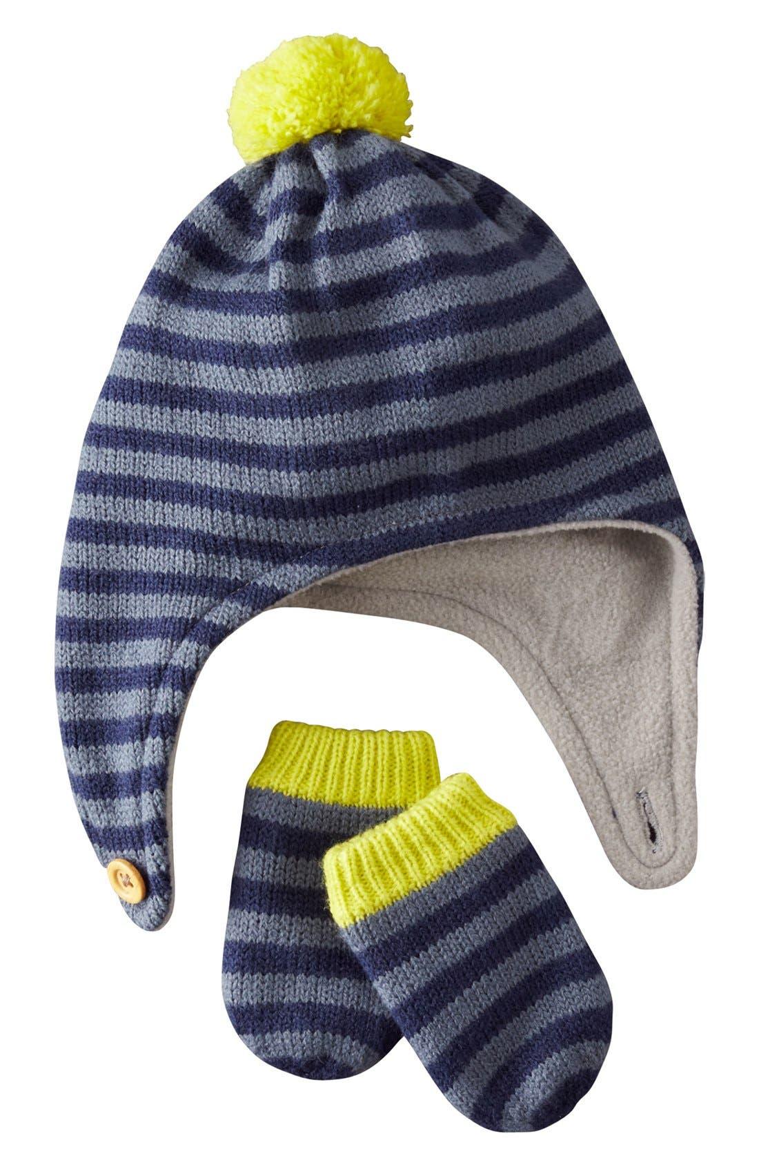 Alternate Image 1 Selected - Mini Boden Hat & Mittens (Baby Boys & Toddler Boys)