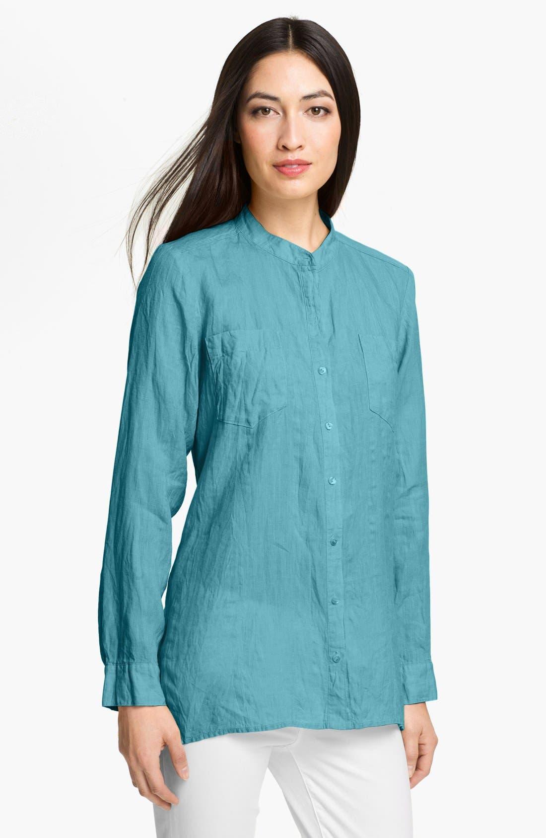 Alternate Image 1 Selected - Eileen Fisher Mandarin Collar Organic Linen Shirt