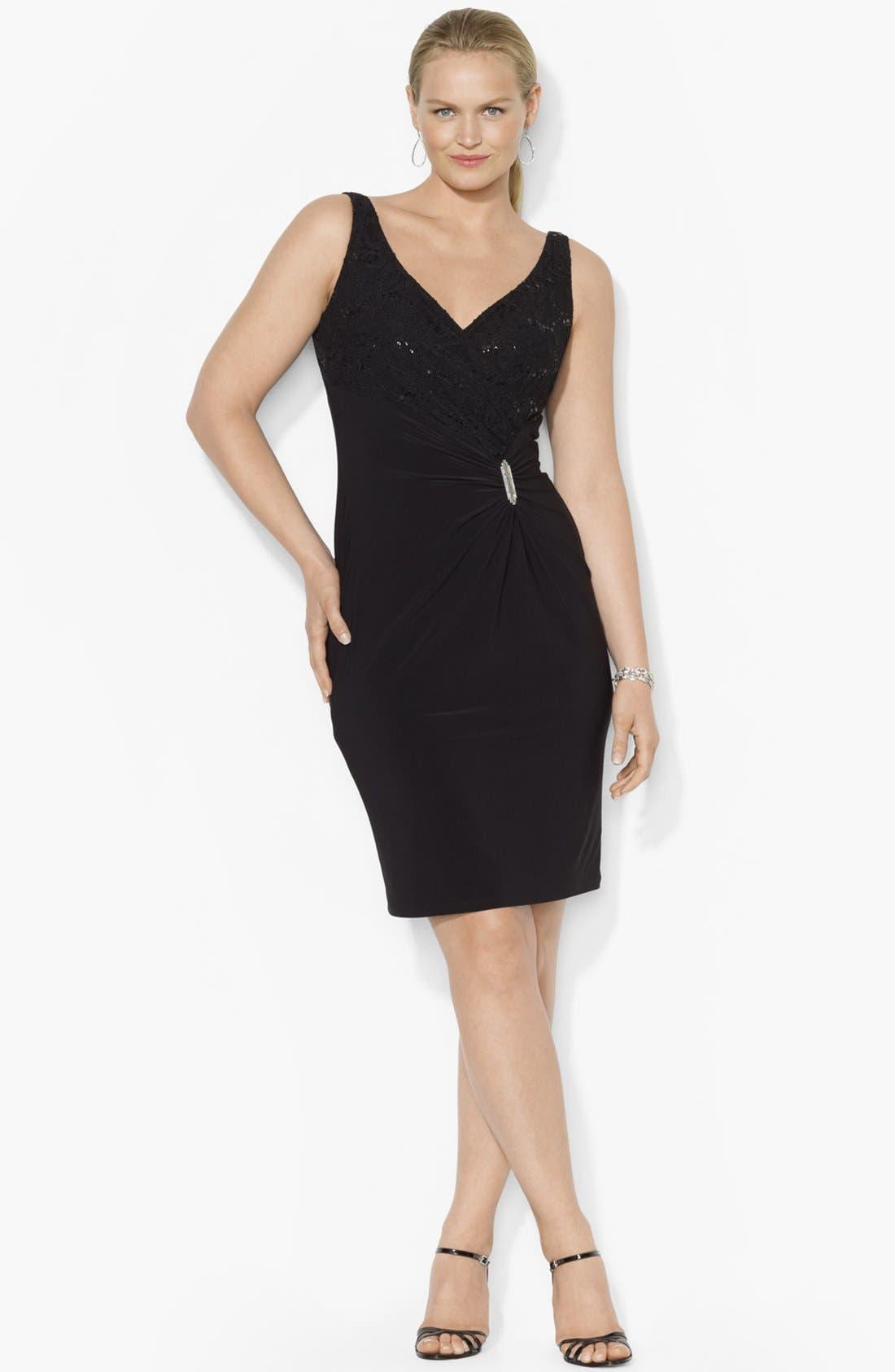 Main Image - Lauren Ralph Lauren Embellished Lace & Jersey Sheath Dress (Plus Size)