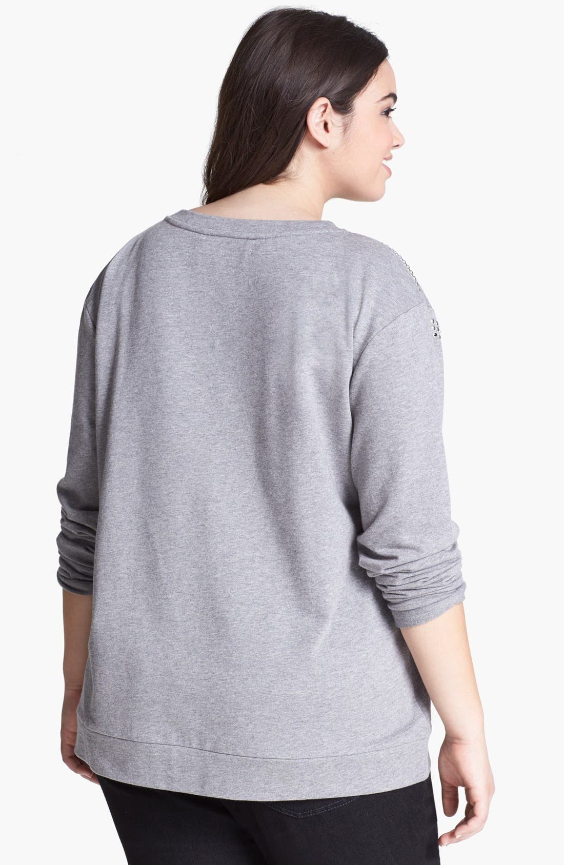 Alternate Image 2  - Two by Vince Camuto Studded Sweatshirt (Plus Size)