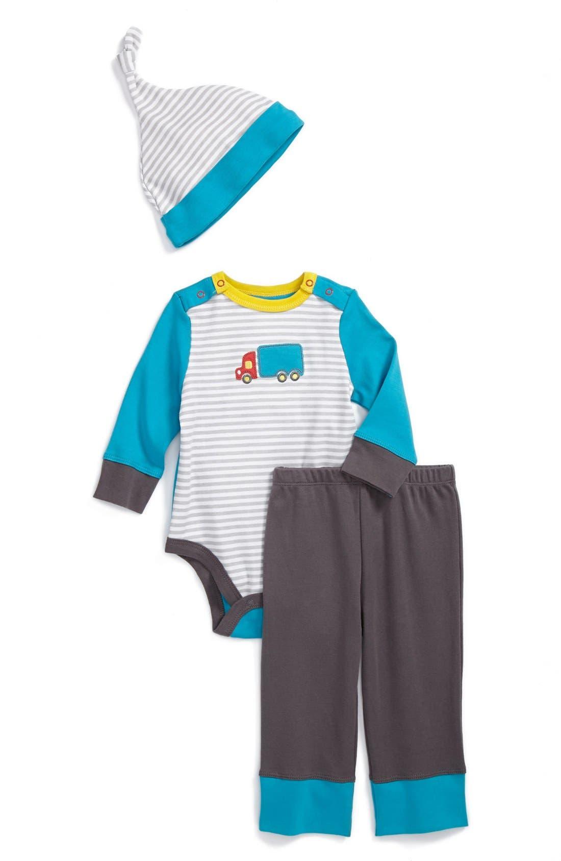 Main Image - Offspring 'Truck' Bodysuit, Pants & Hat (Baby Boys)