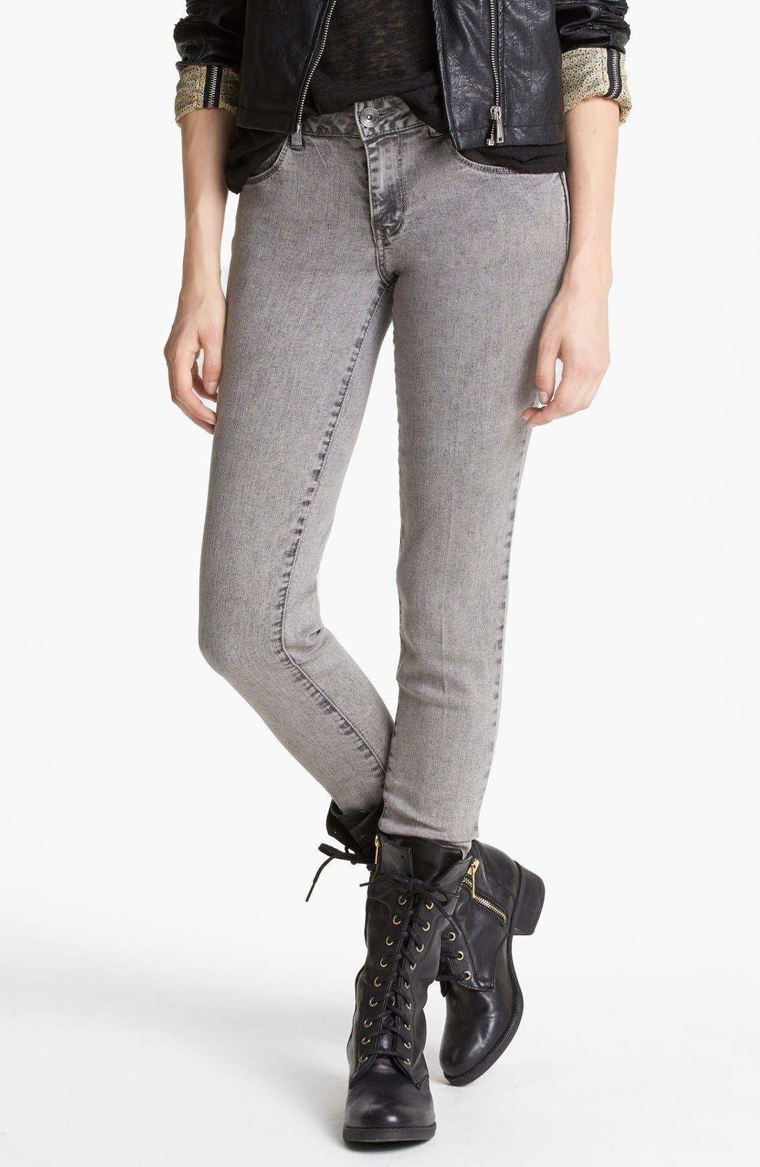 Alternate Image 1 Selected - Jolt Acid Wash Skinny Jeans (Grey) (Juniors)