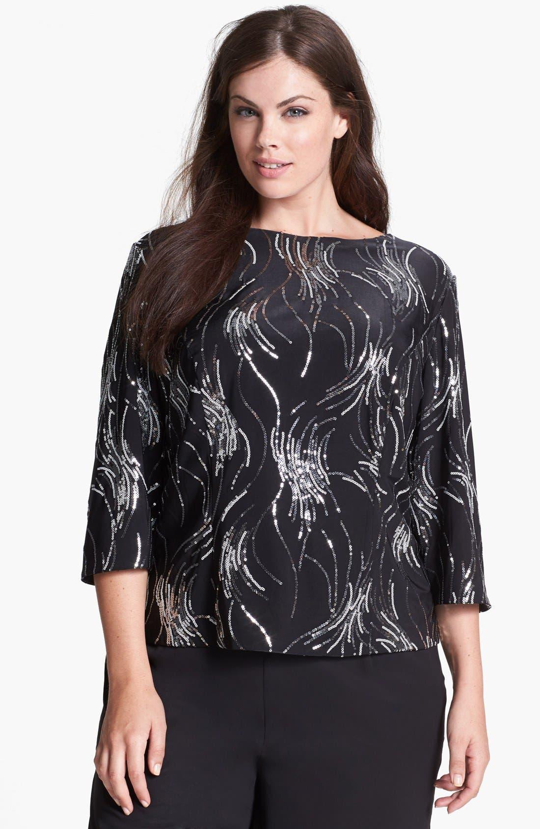 Main Image - Alex Evenings Sequin Embellished Blouse (Plus Size)