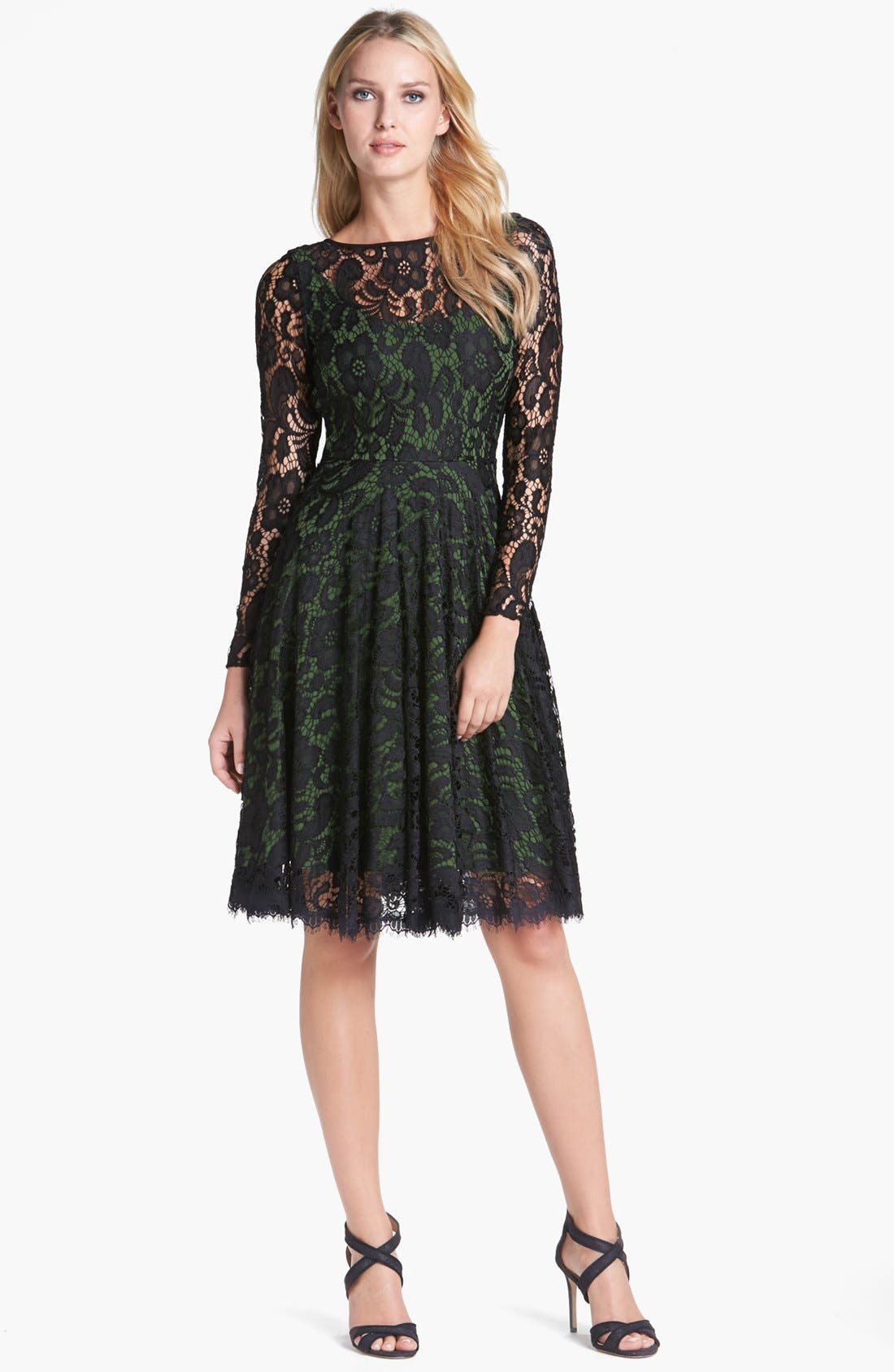 Main Image - Isaac Mizrahi New York Lace Fit & Flare Dress