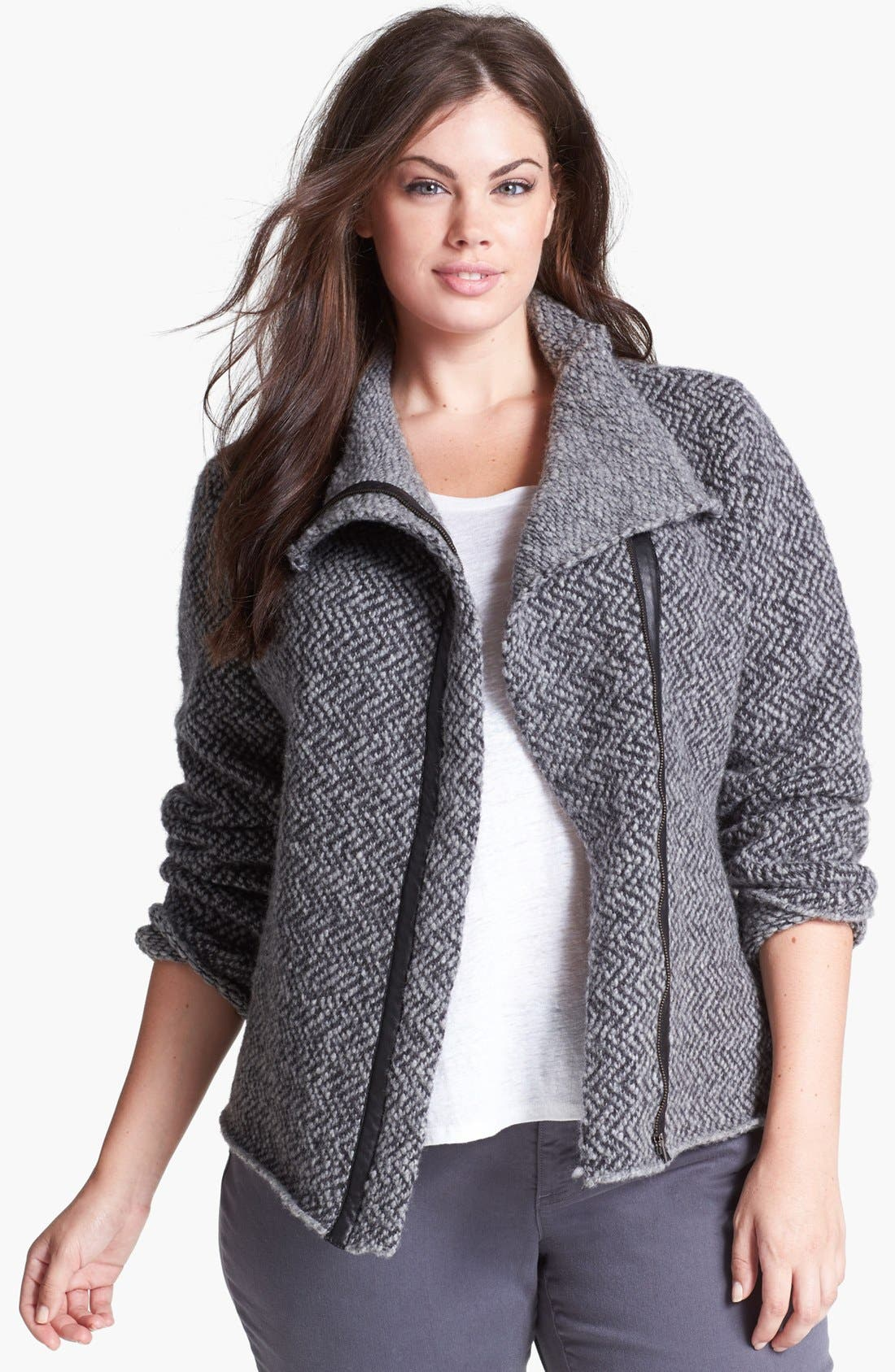 Alternate Image 1 Selected - Eileen Fisher Leather Trim Wool Jacket (Plus Size)