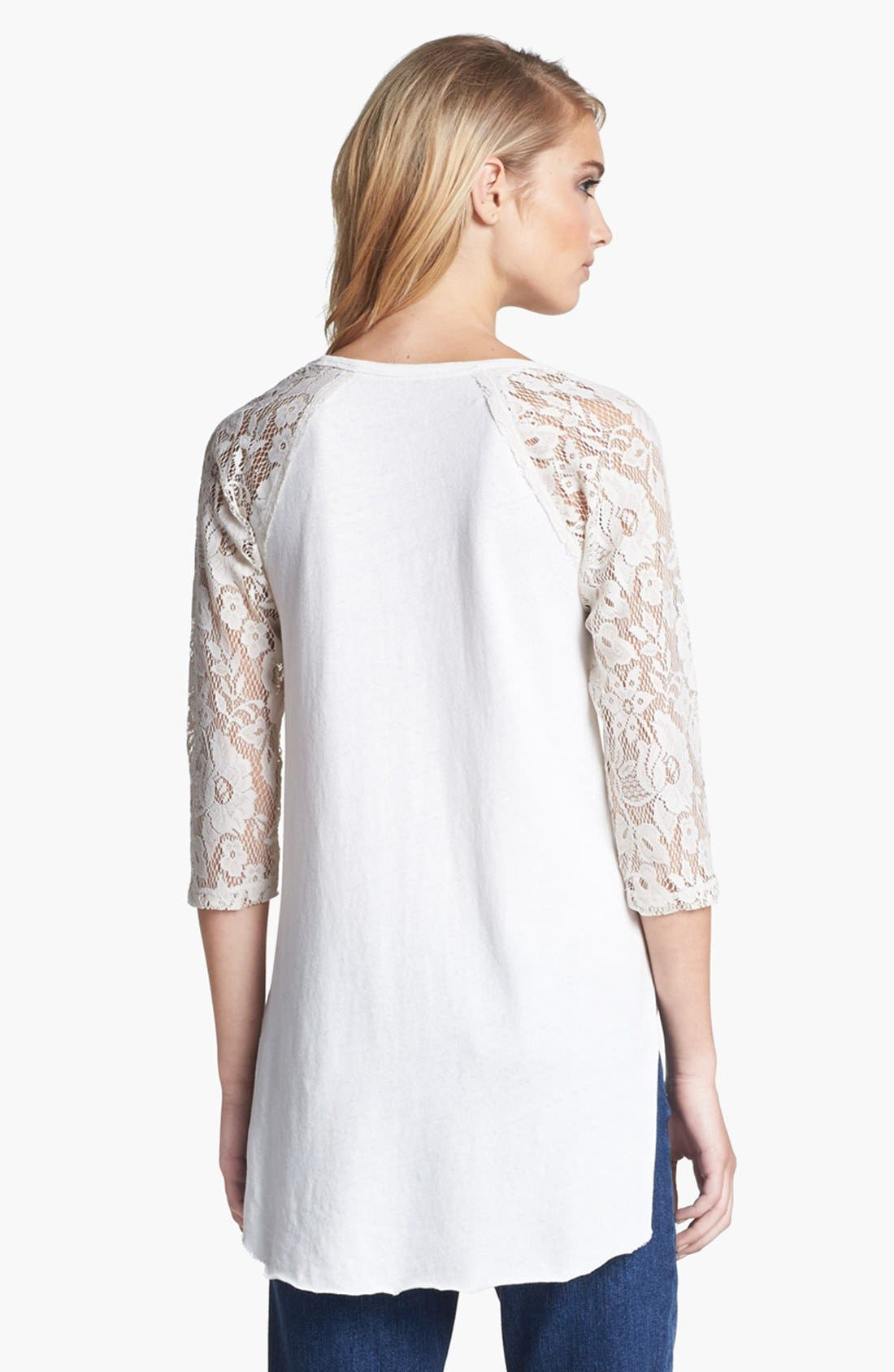 Alternate Image 2  - Free People Graphic Lace Sleeve Tee