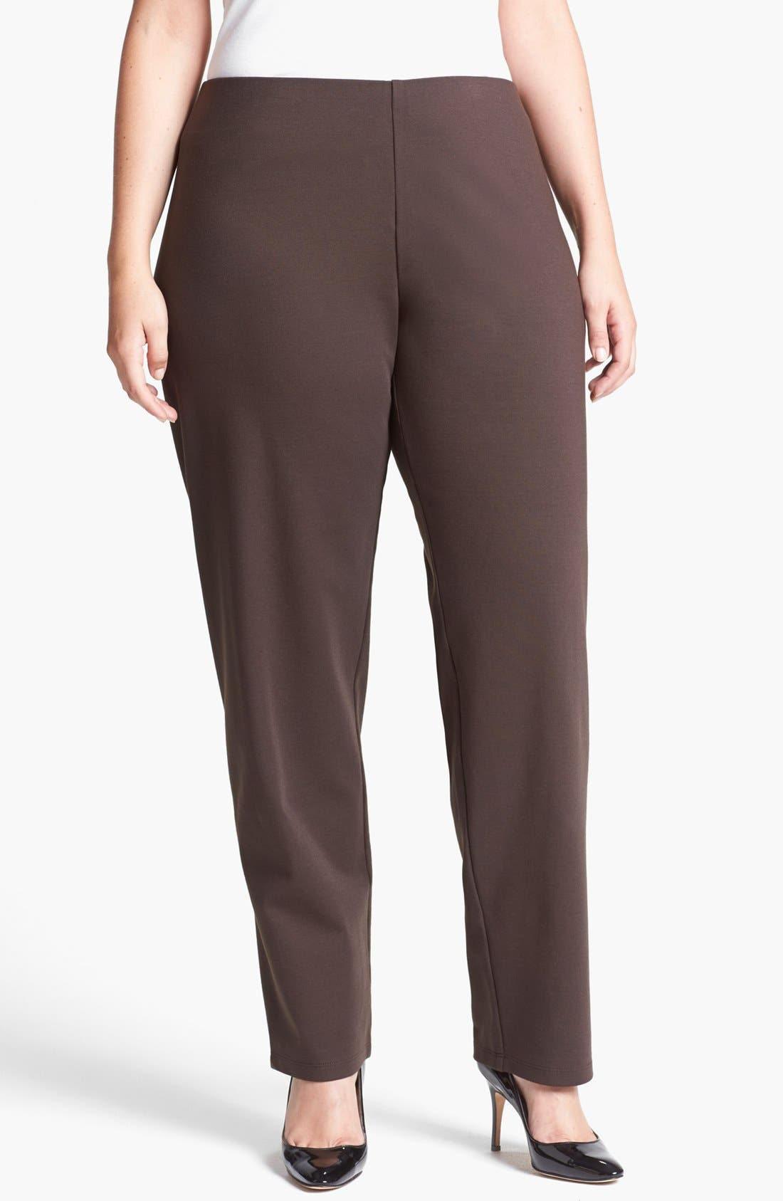 Alternate Image 1 Selected - Eileen Fisher Stretch Knit Pants (Plus Size)