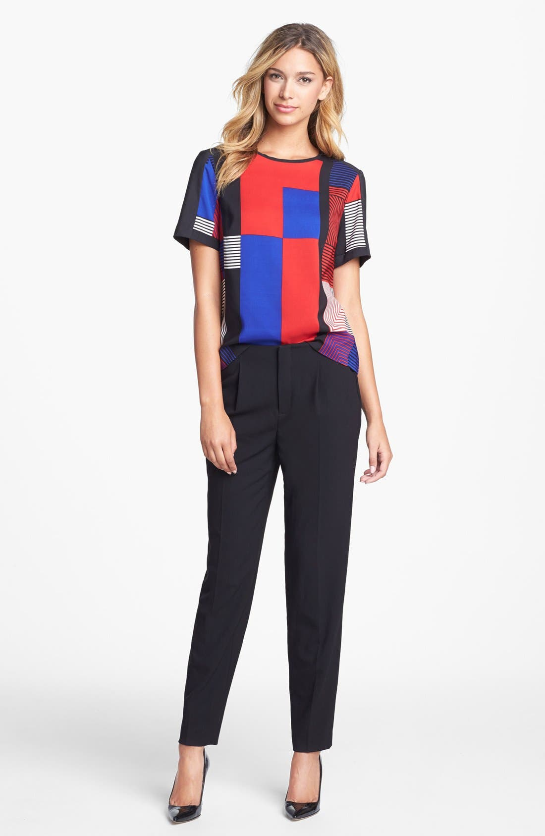 Alternate Image 4  - Vince Camuto Patchwork Colorblock Woven Top
