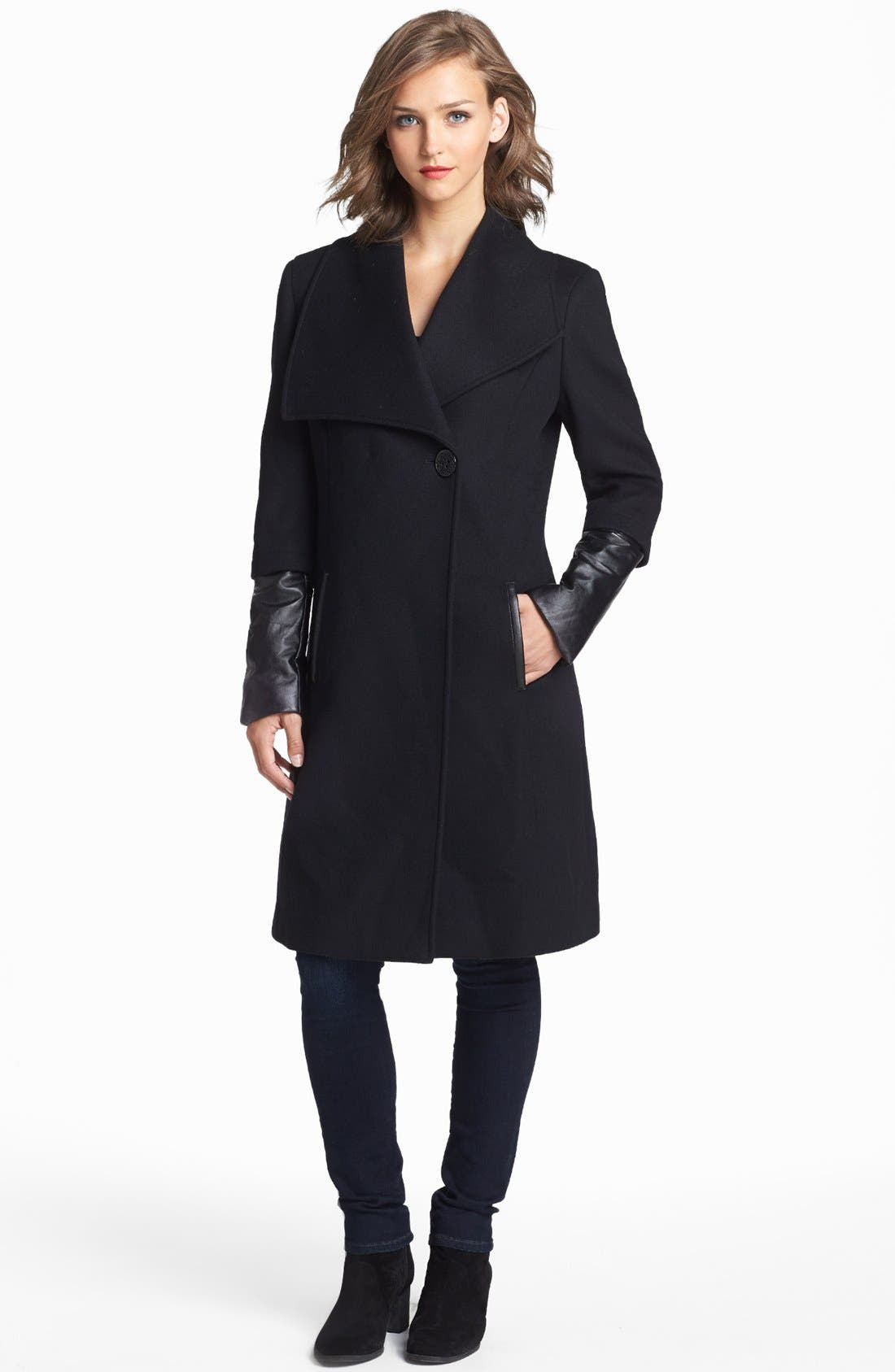 Main Image - Elie Tahari 'Carlotta' Leather Trim Wool Blend Coat