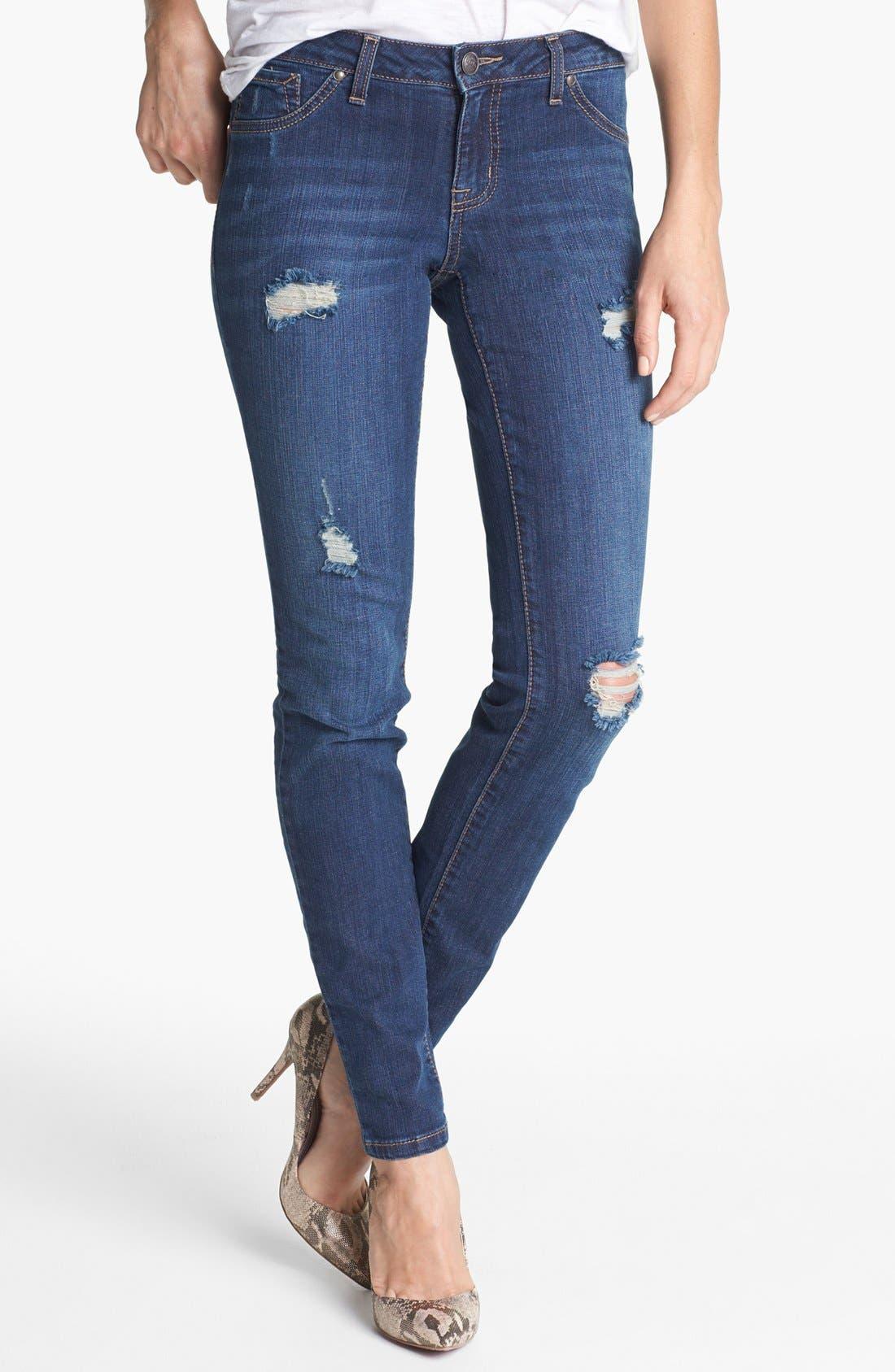 Main Image - Jessica Simpson 'Kiss Me' Deconstructed Skinny Jeans (Bing Bang)