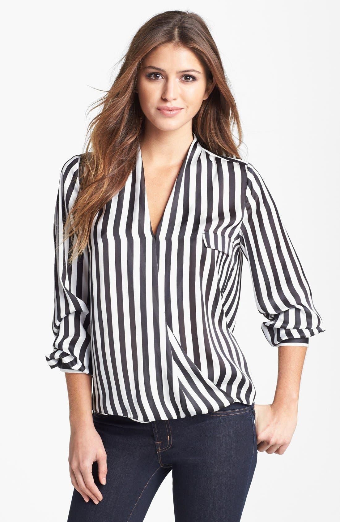 Alternate Image 1 Selected - Vince Camuto Faux Wrap Stripe Blouse