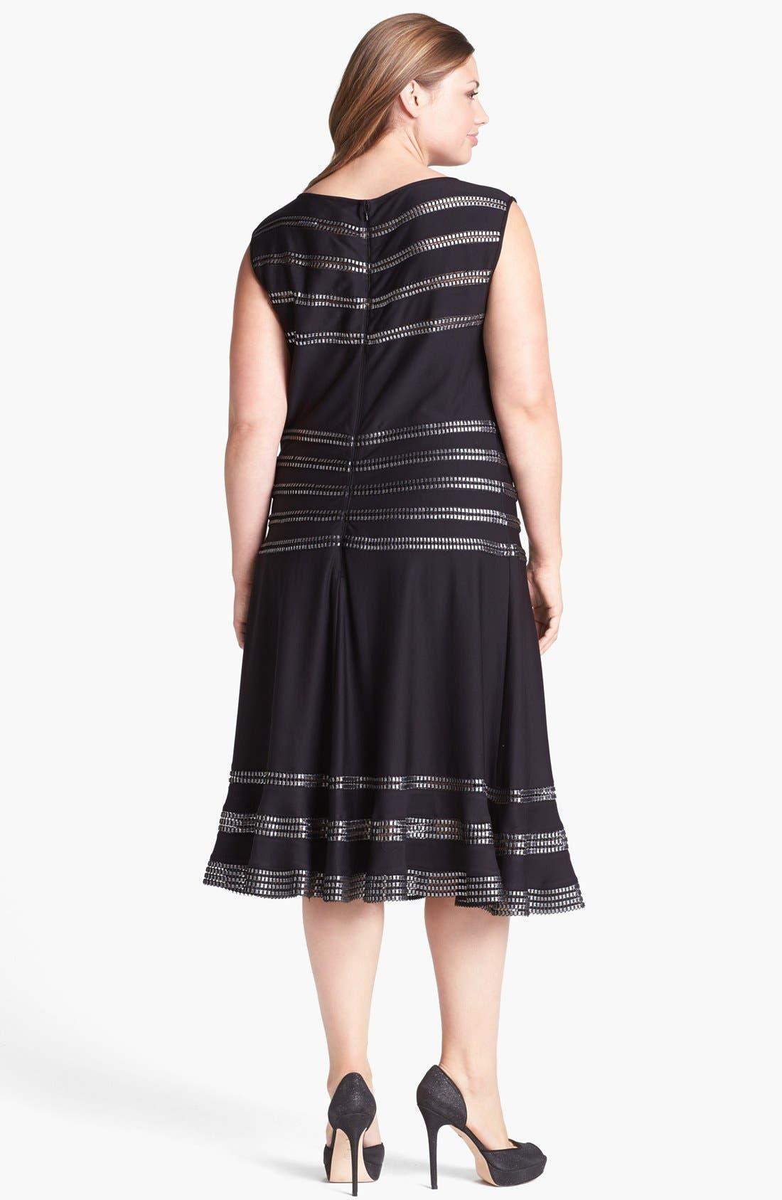 Alternate Image 2  - Tadashi Shoji Foil Banded Fit & Flare Dress (Plus Size)