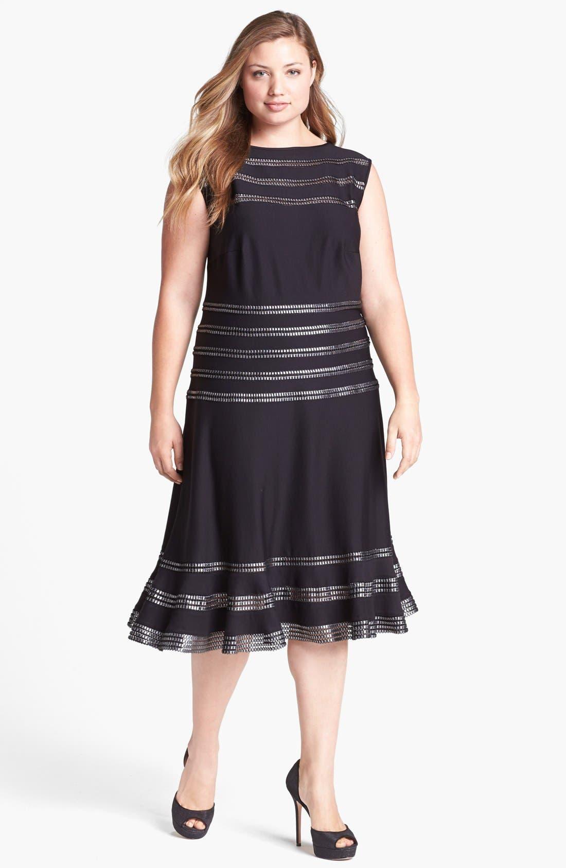 Main Image - Tadashi Shoji Foil Banded Fit & Flare Dress (Plus Size)