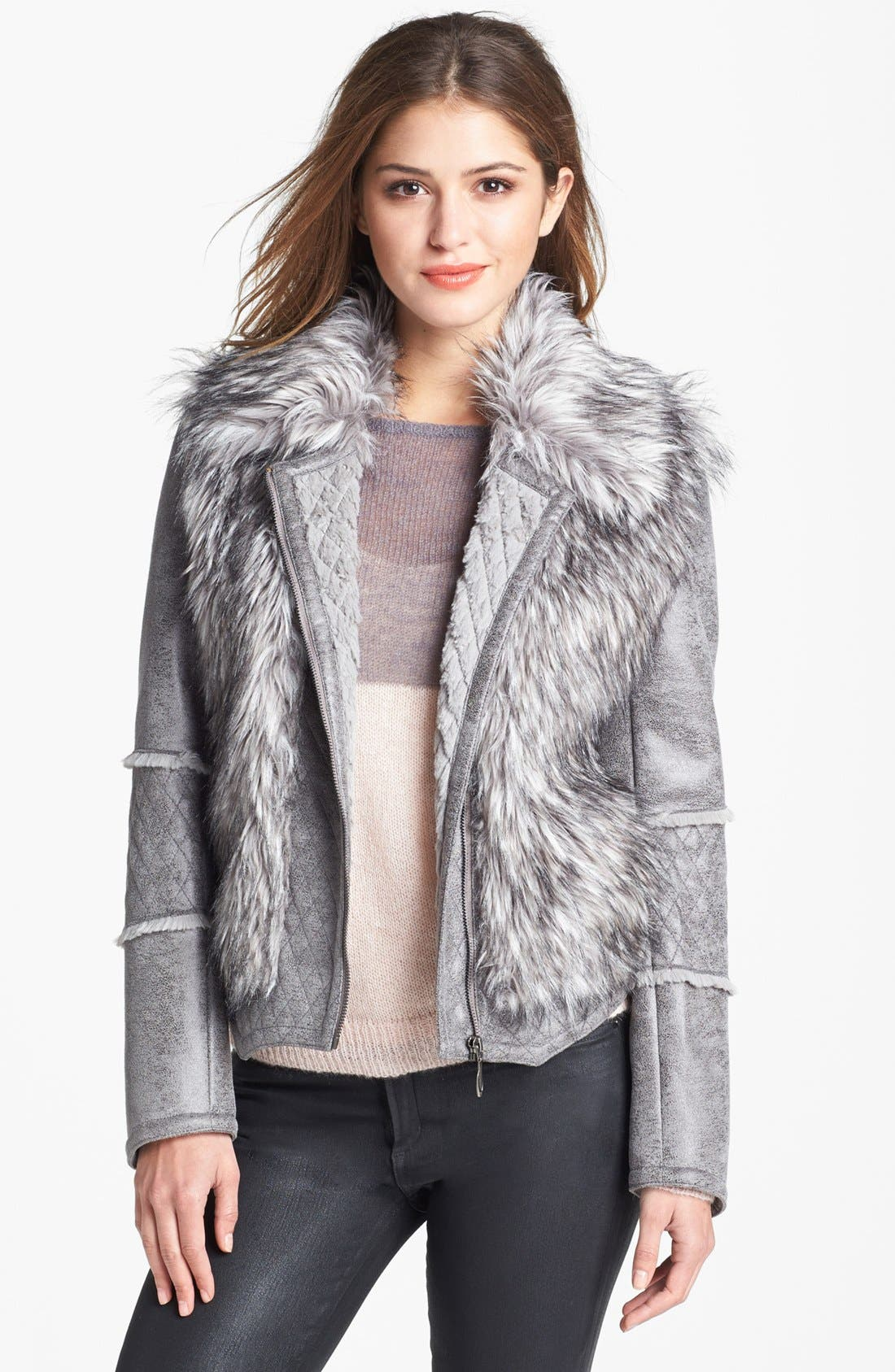 Alternate Image 1 Selected - Kristen Blake Faux Shearling & Faux Fur Moto Jacket (Nordstrom Exclusive)