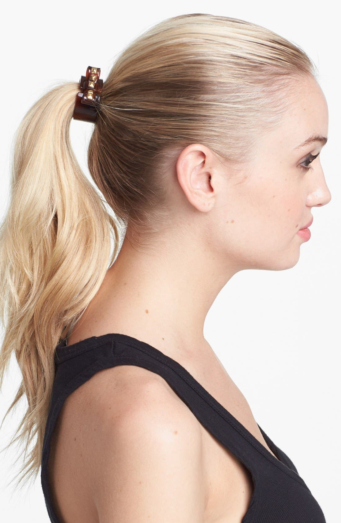 Alternate Image 1 Selected - L. Erickson Studded Bow Cuff Ponytail Holder