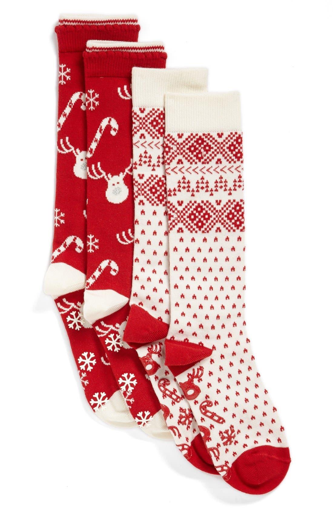 Main Image - Nordstrom 'Reindeer' Fair Isle Knee Socks (2-Pack) (Little Girls)