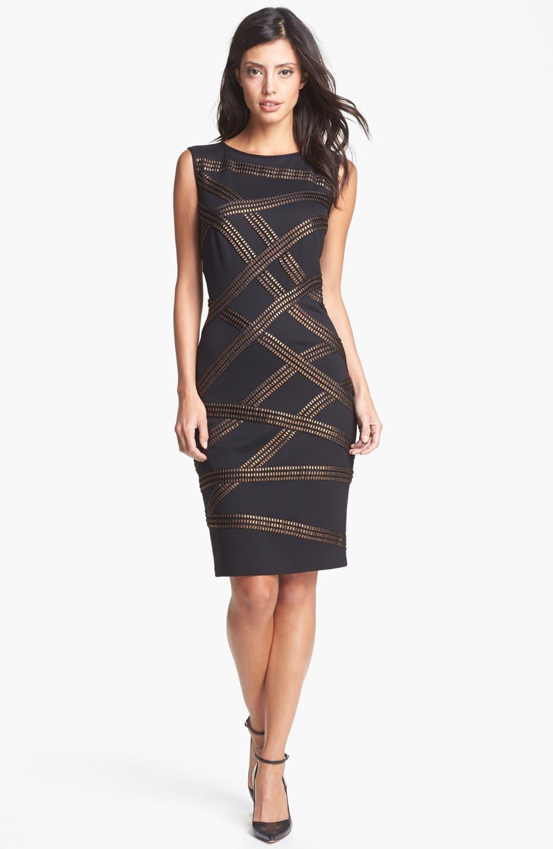 Alternate Image 1 Selected - Tadashi Shoji Foil Detail Jersey Dress