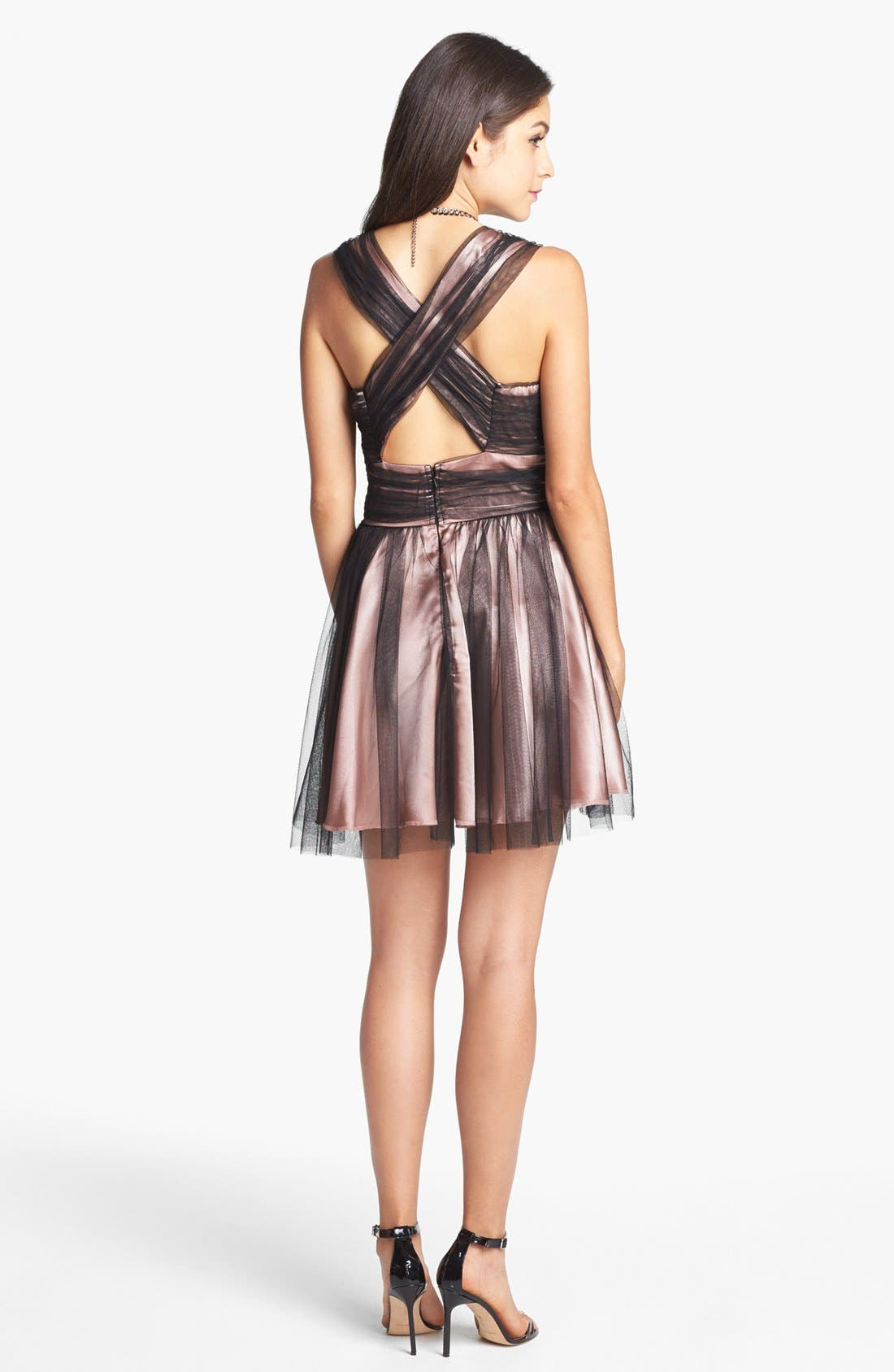 Alternate Image 2  - Trixxi Beaded Mesh Overlay Dress (Juniors) (Online Only)