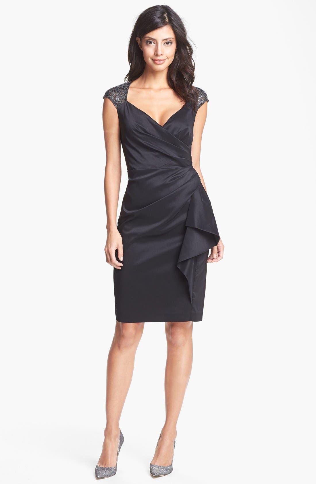 Alternate Image 1 Selected - Maggy London Metallic Lace & Draped Taffeta Sheath Dress