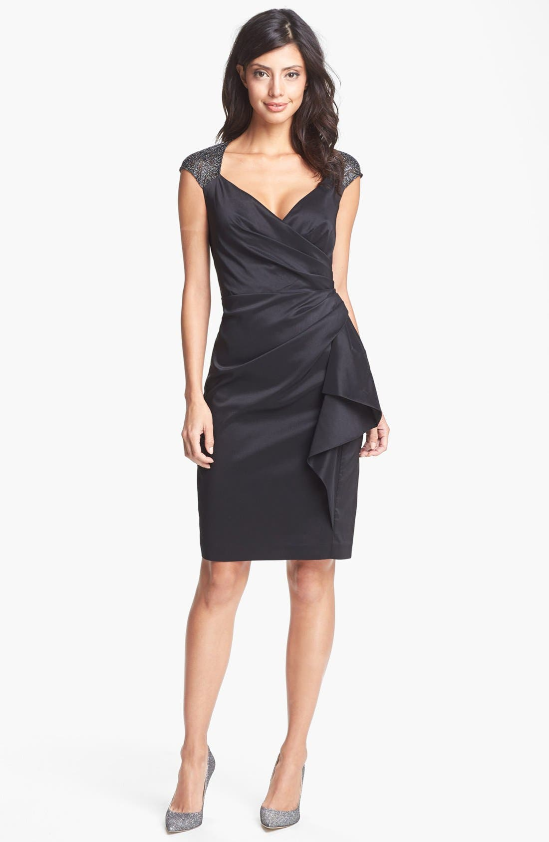 Main Image - Maggy London Metallic Lace & Draped Taffeta Sheath Dress