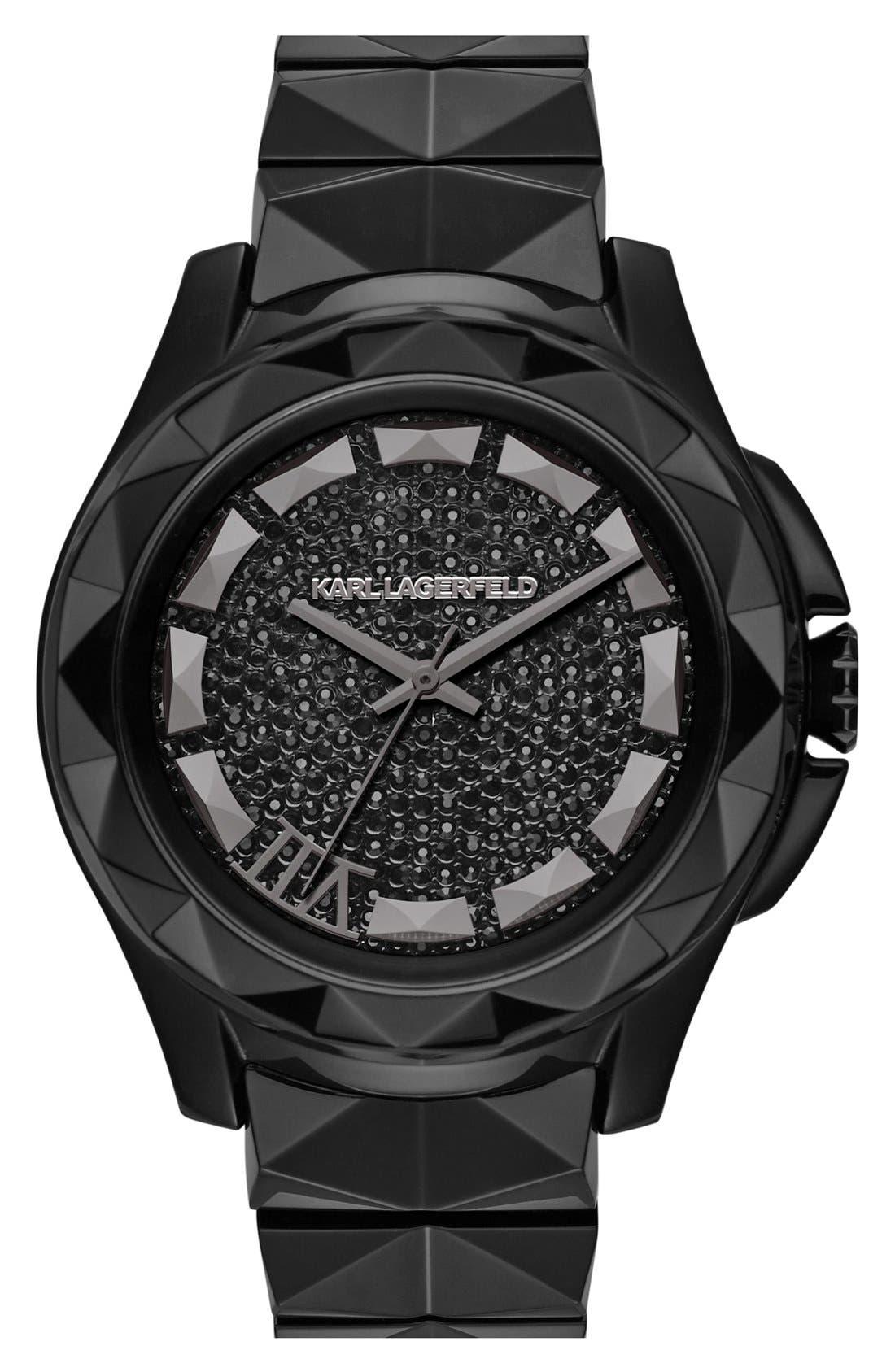 Main Image - KARL LAGERFELD '7' Faceted Bezel Ceramic Bracelet Watch, 44mm