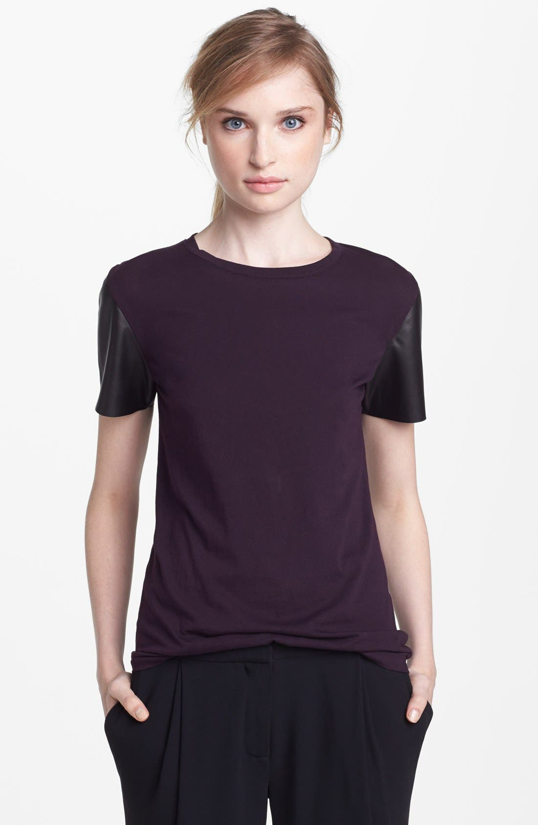 Alternate Image 1 Selected - Vince Leather Sleeve Tee