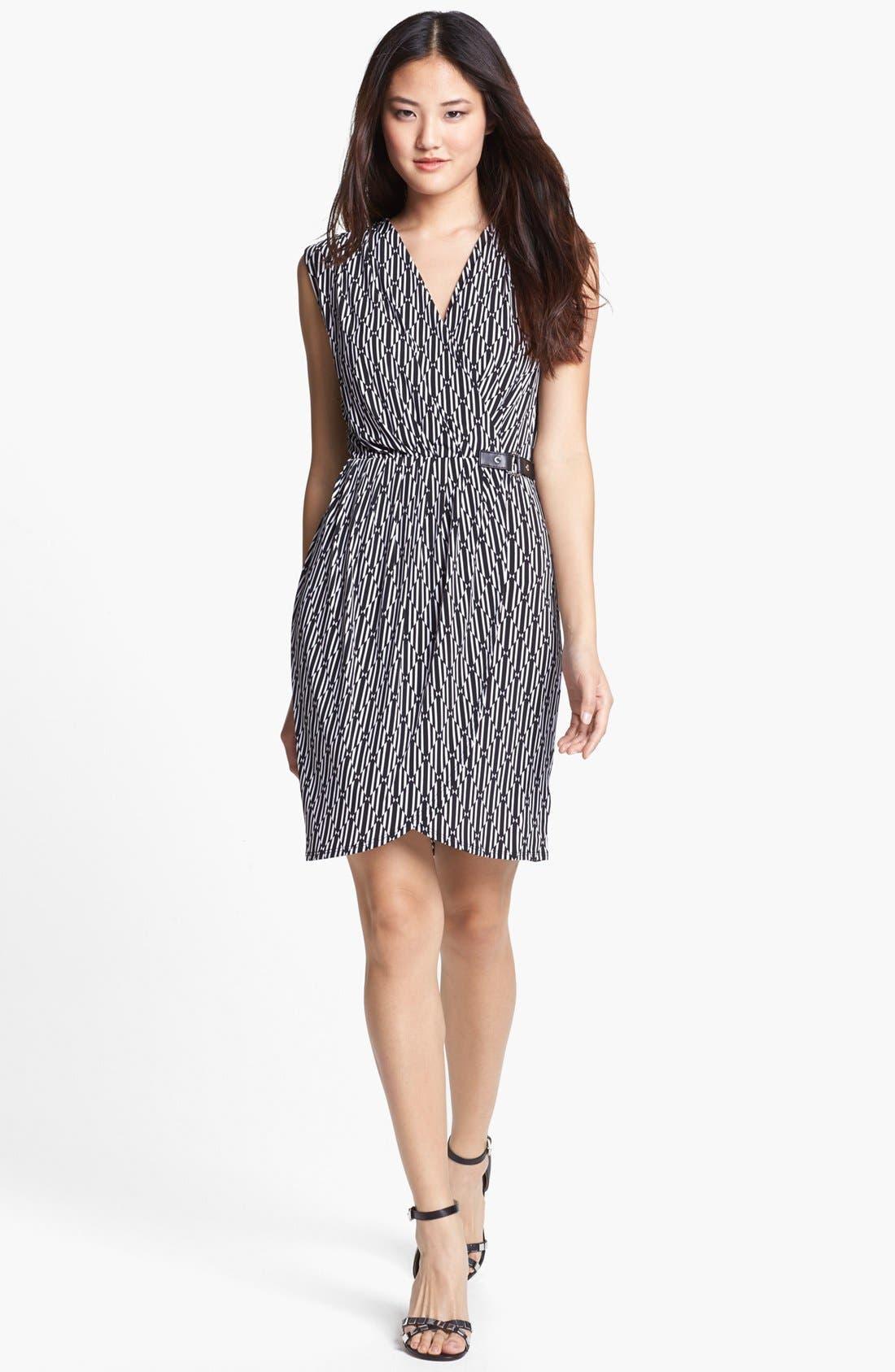 Alternate Image 1 Selected - MICHAEL Michael Kors Sleeveless Faux Wrap Dress (Petite)
