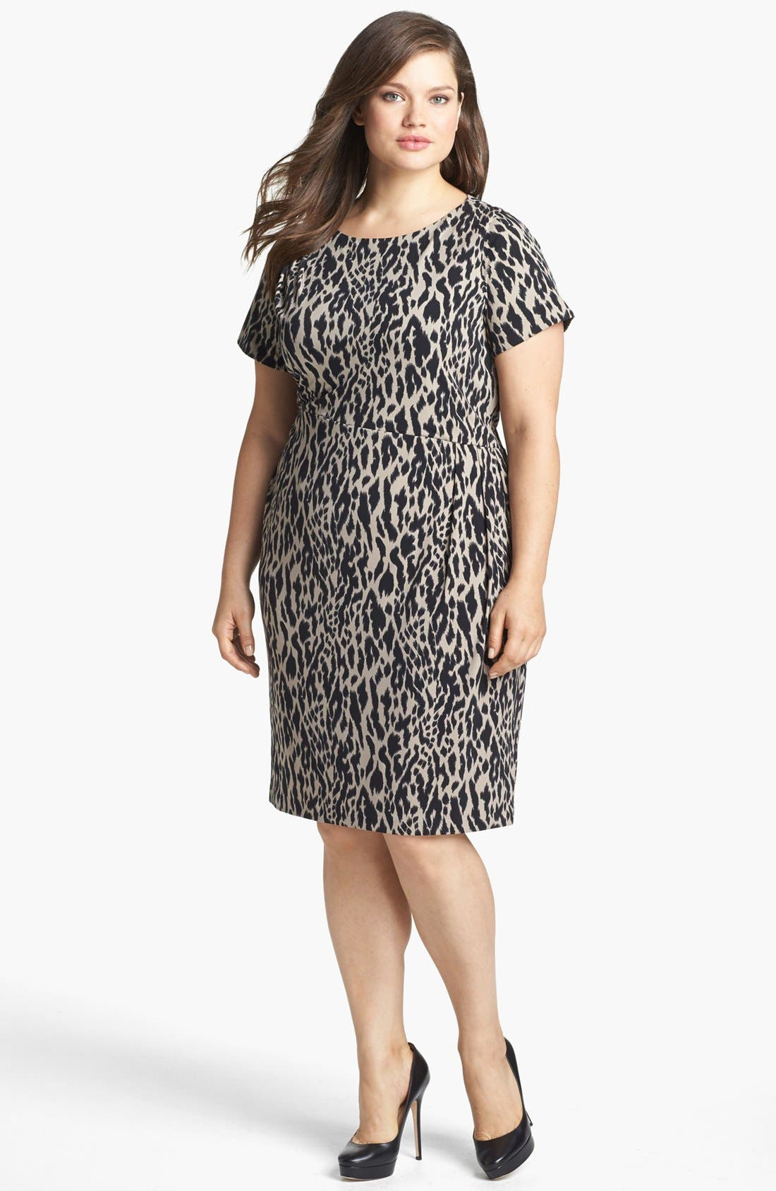Alternate Image 1 Selected - Vince Camuto Animal Print Ruched Sheath Dress (Plus Size) (Online Only)